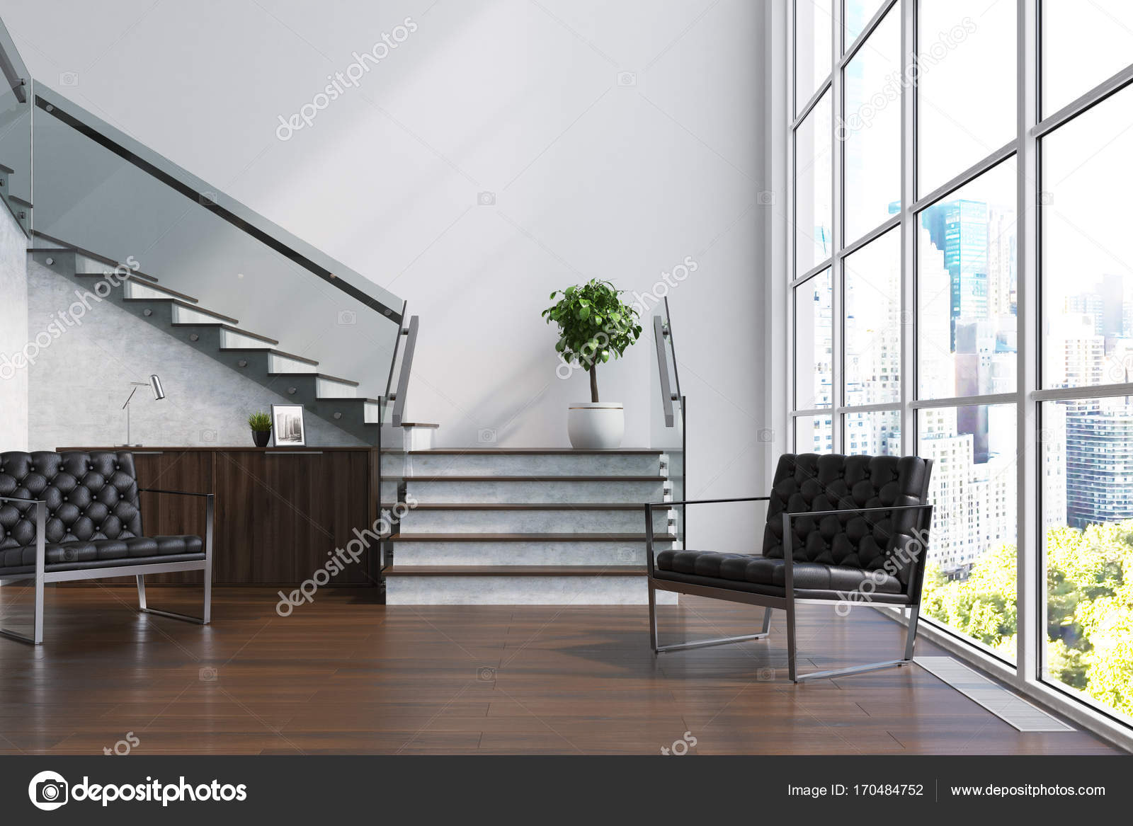 Wit woonkamer, trap, Fauteuils — Stockfoto © denisismagilov #170484752