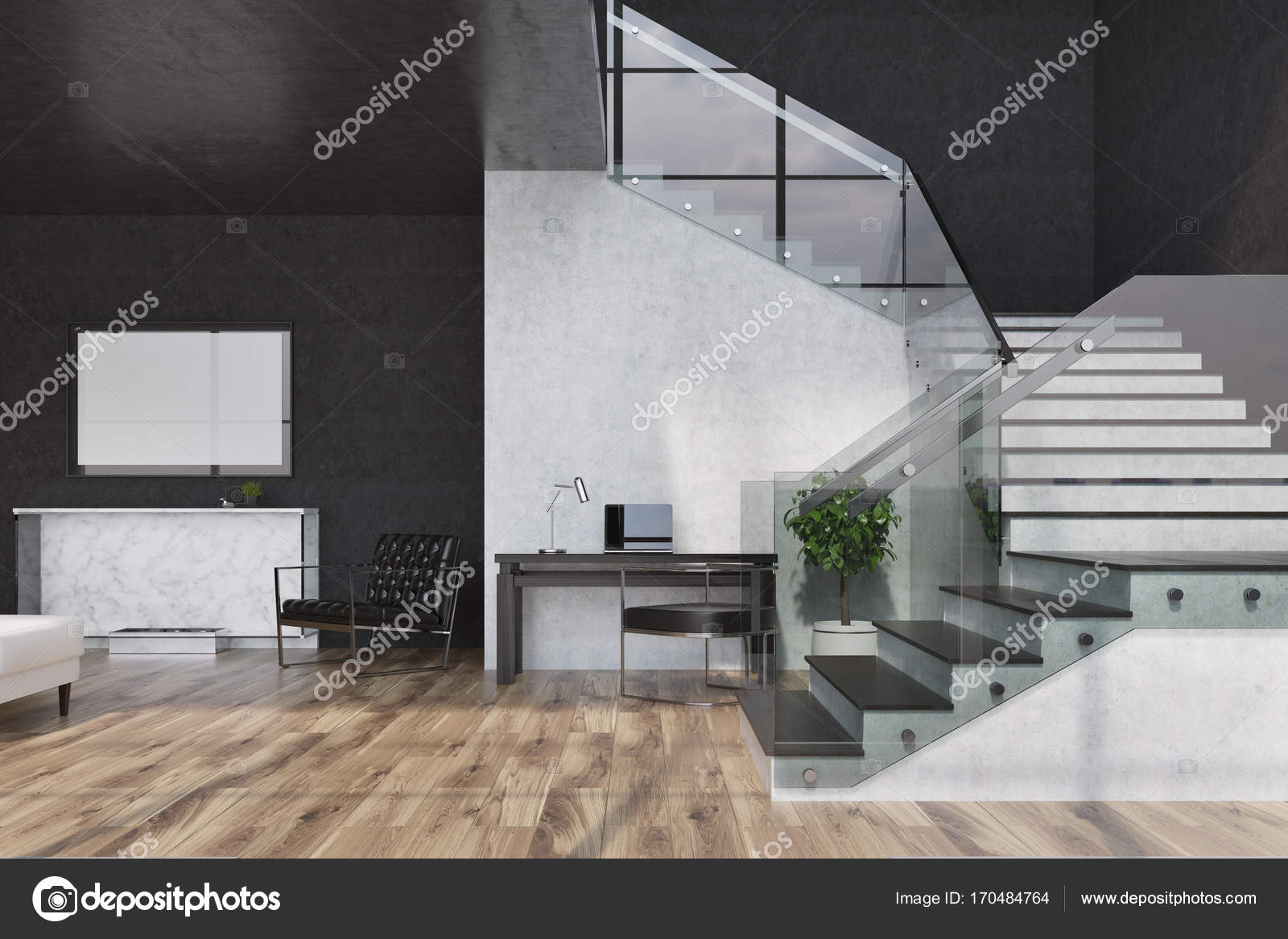 . Black marble living room  fireplace and poster   Stock Photo