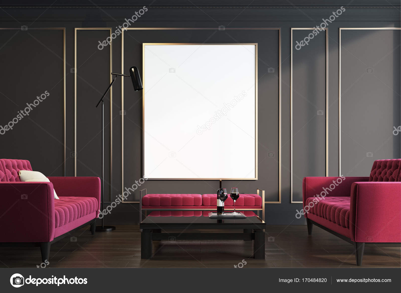 Schwarz Und Gold Wohnzimmer, Roten Sesseln U2014 Stockfoto