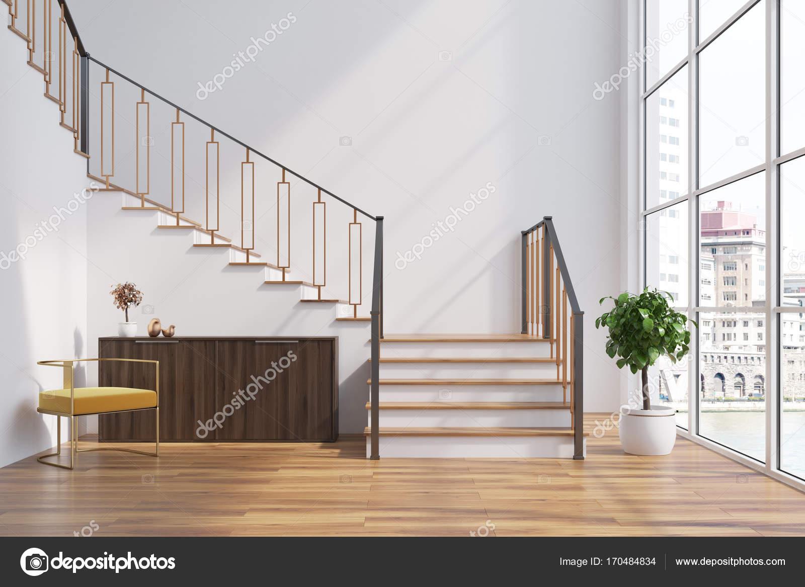 wei e wohnzimmer interieur kommode treppen stockfoto denisismagilov 170484834. Black Bedroom Furniture Sets. Home Design Ideas