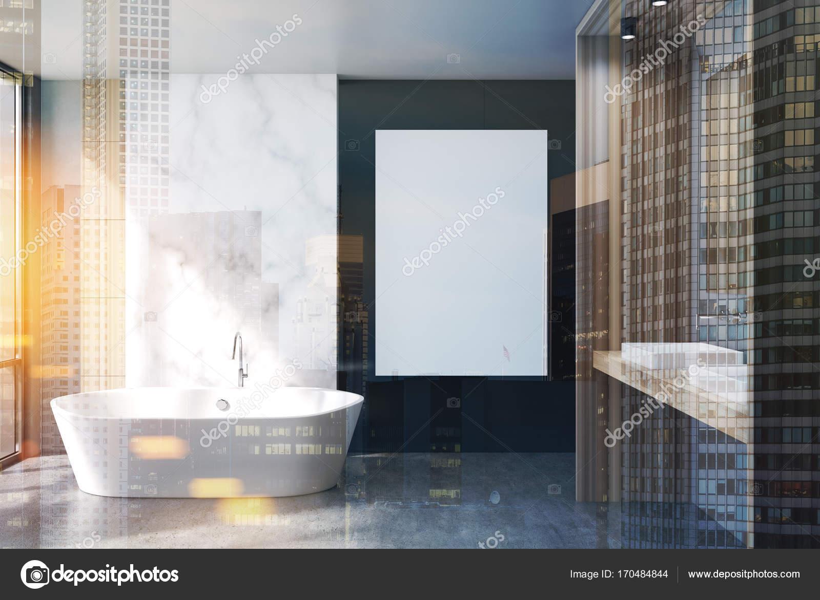 Marmer en zwarte badkamer, dubbele poster — Stockfoto ...
