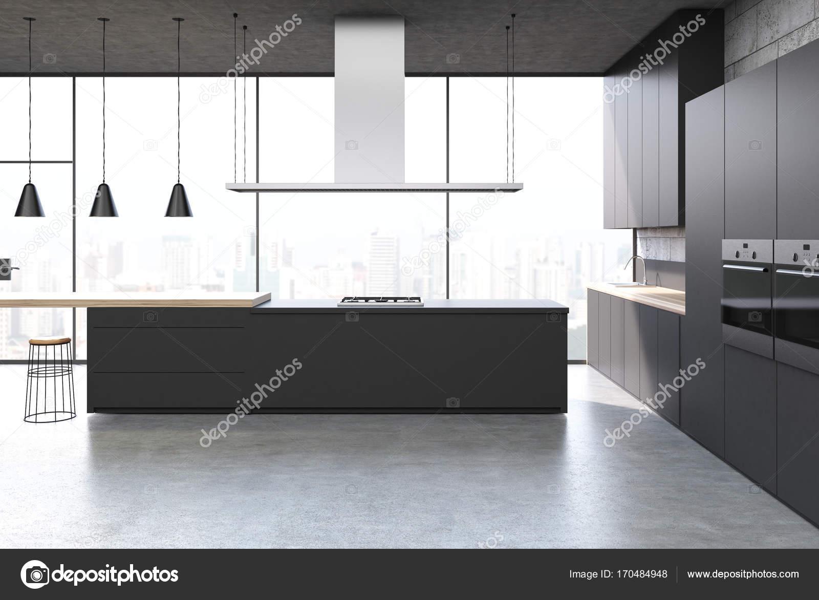 Schwarze Küche Interieur, bar stand — Stockfoto © denisismagilov ...