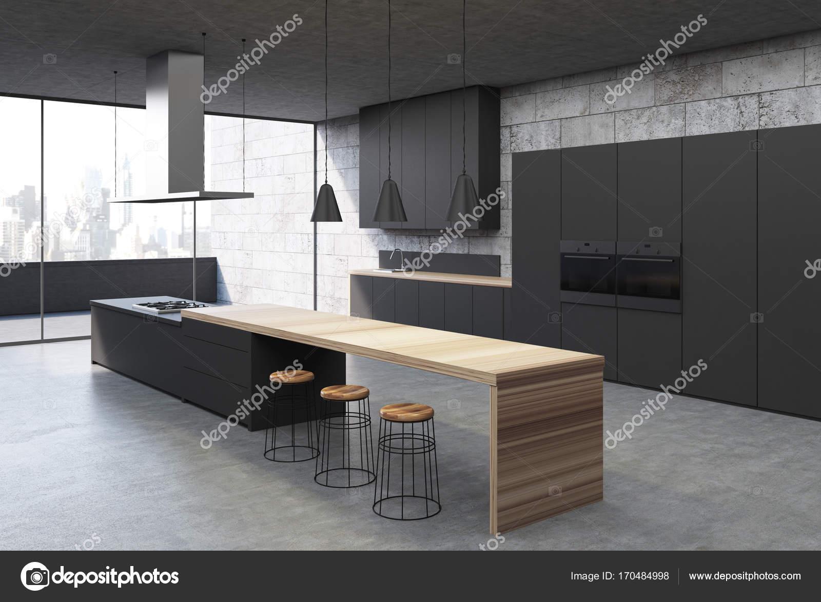 Konkrete Kuchenschranke Innen Schwarz Ecke Stockfoto