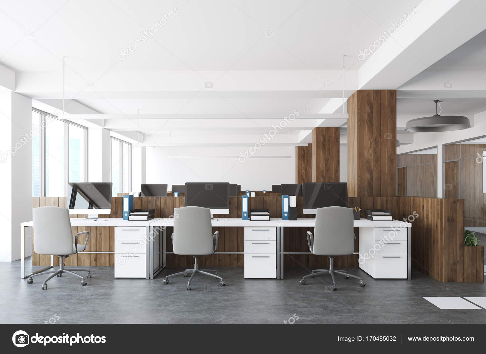 Ufficio Bianco E Legno : Legno e bianco aperto interno di spazio ufficio u foto stock