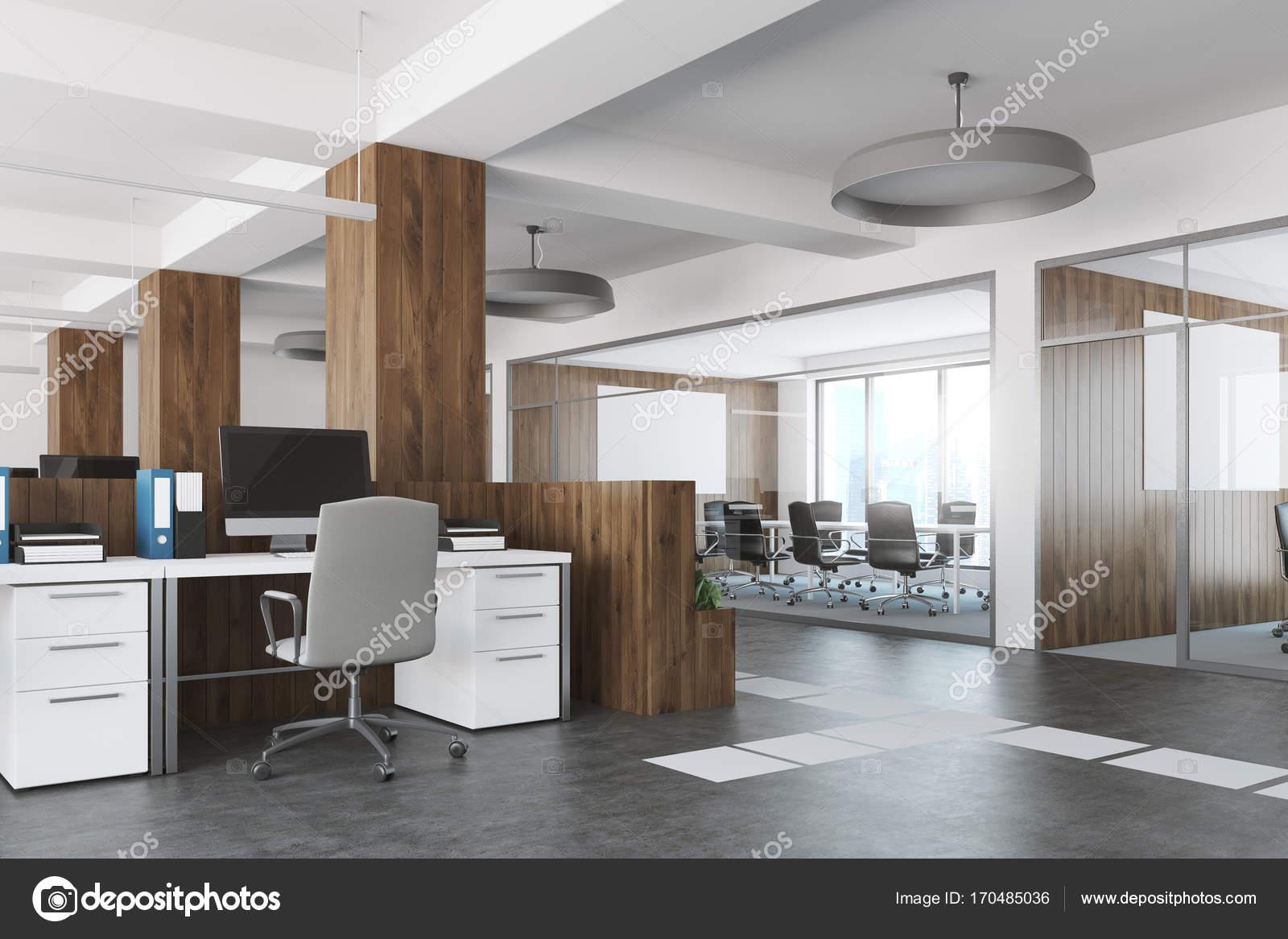 Ufficio Bianco E Legno : Vista laterale di spazio aperto bianco e legno ufficio u foto