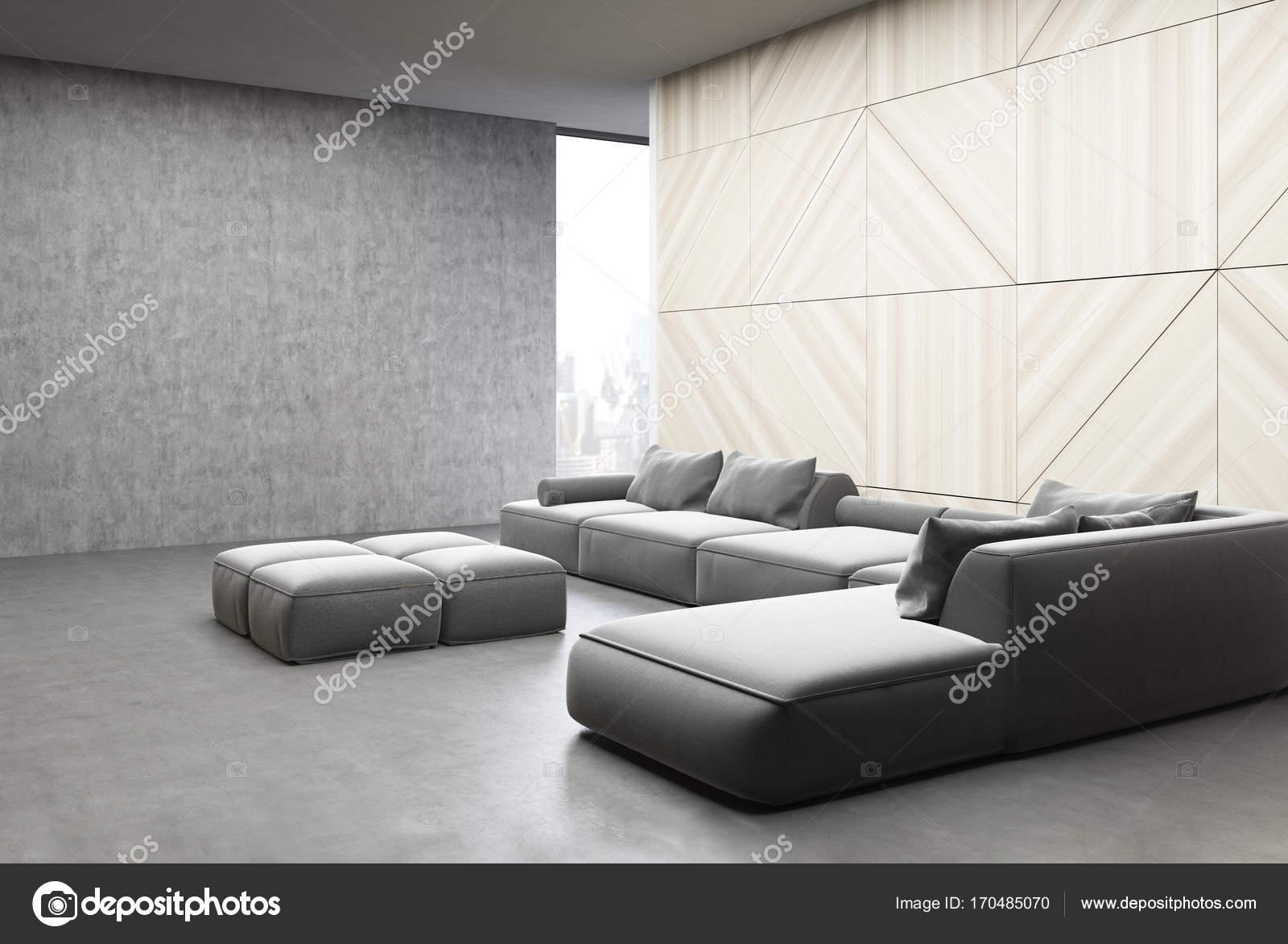Moderne Wohnzimmer Interieur Mit Weißen Panel Und Betonwände,  Panoramafenster Und Weichen Grauen Sofas. 3D Rendering Mock Up U2014 Foto Von  Denisismagilov