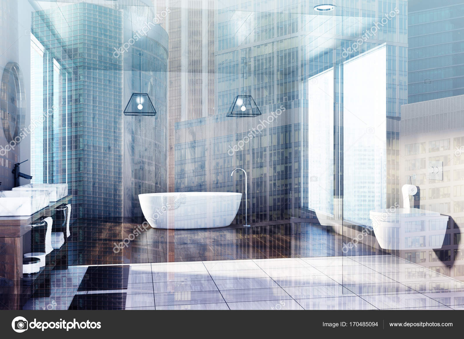Wooden bathroom, tub, sink and toilet double — Stock Photo ...