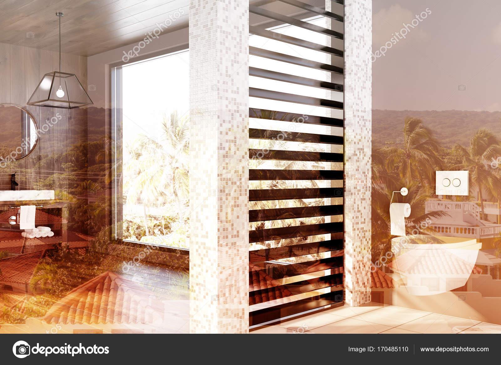 Bianco piastrelle bagno in legno lavabo wc doppio u foto stock