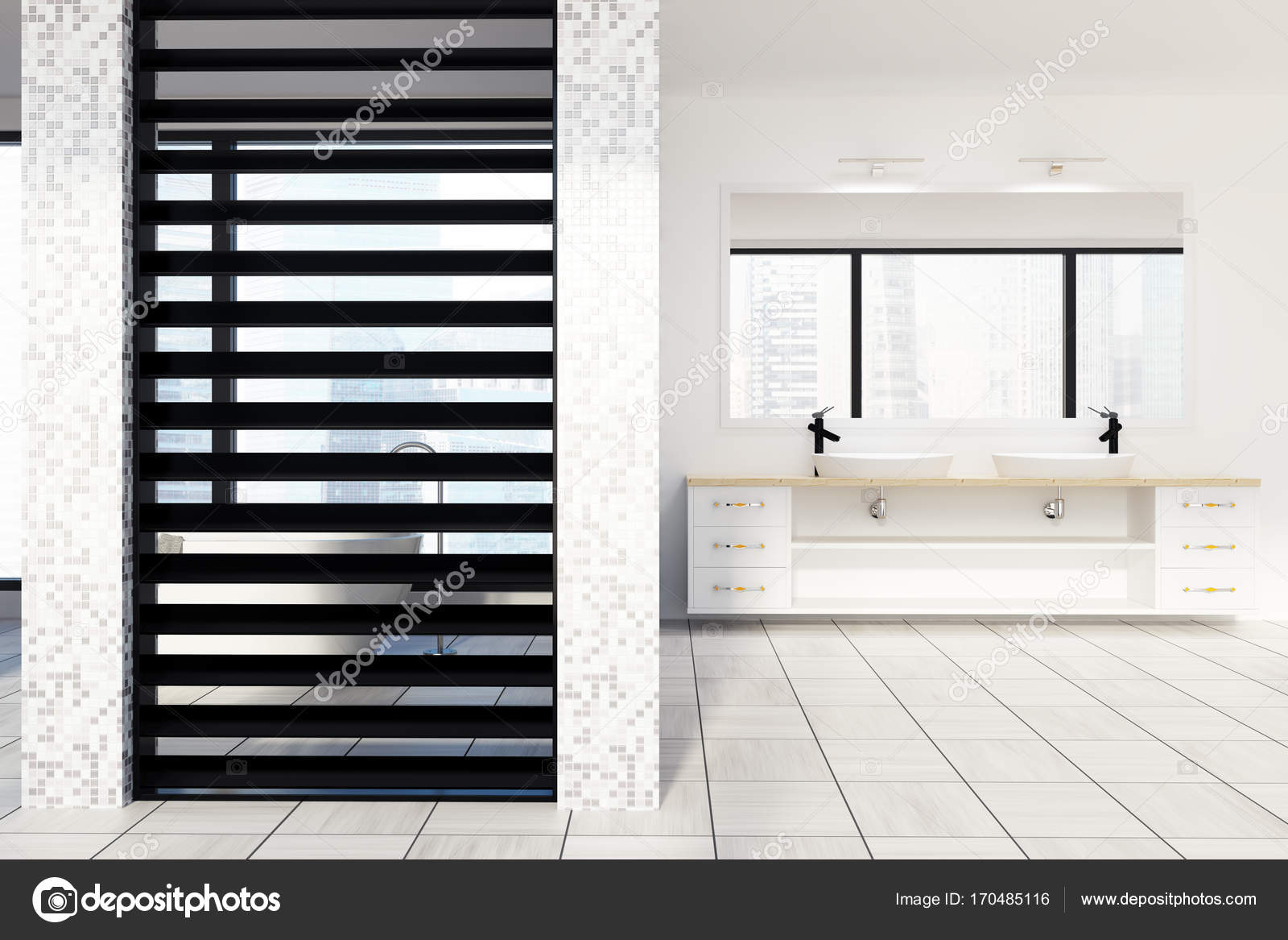 White tiled bathroom, sinks and shower, front — Stock Photo ...