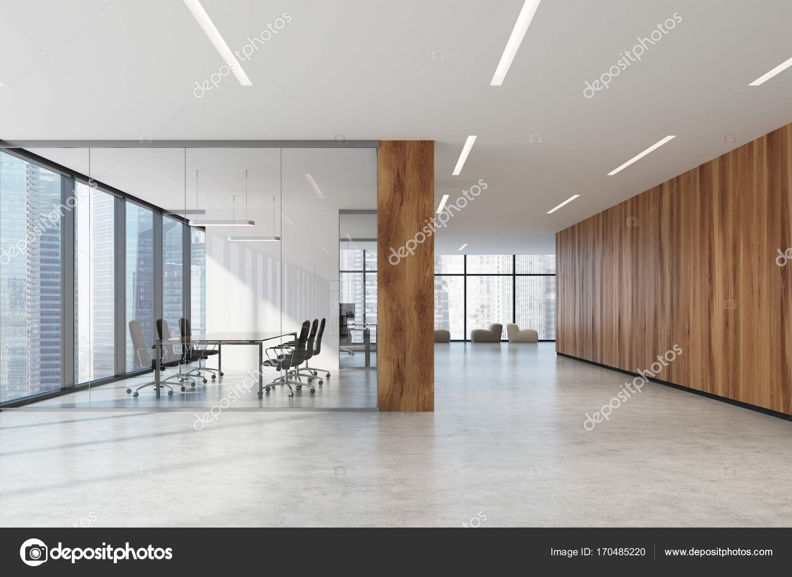 Glass And Wooden Office Meeting Room Armchairs Stock Photo