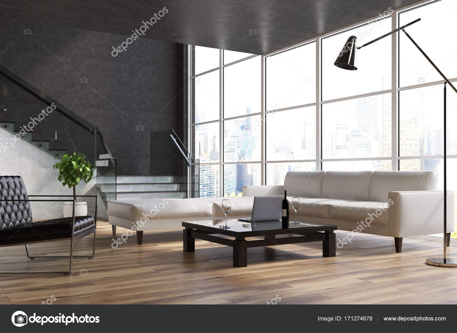 Zwarte woonkamer, trap, banken — Stockfoto © denisismagilov #171274678