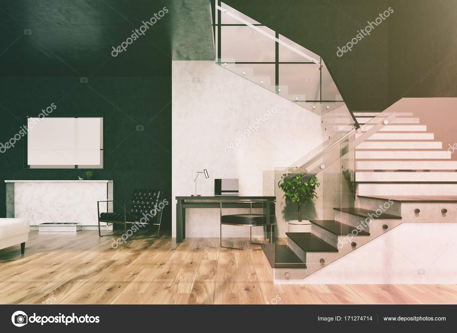 Marmer In Woonkamer : Zwart marmer woonkamer open haard poster toned u stockfoto