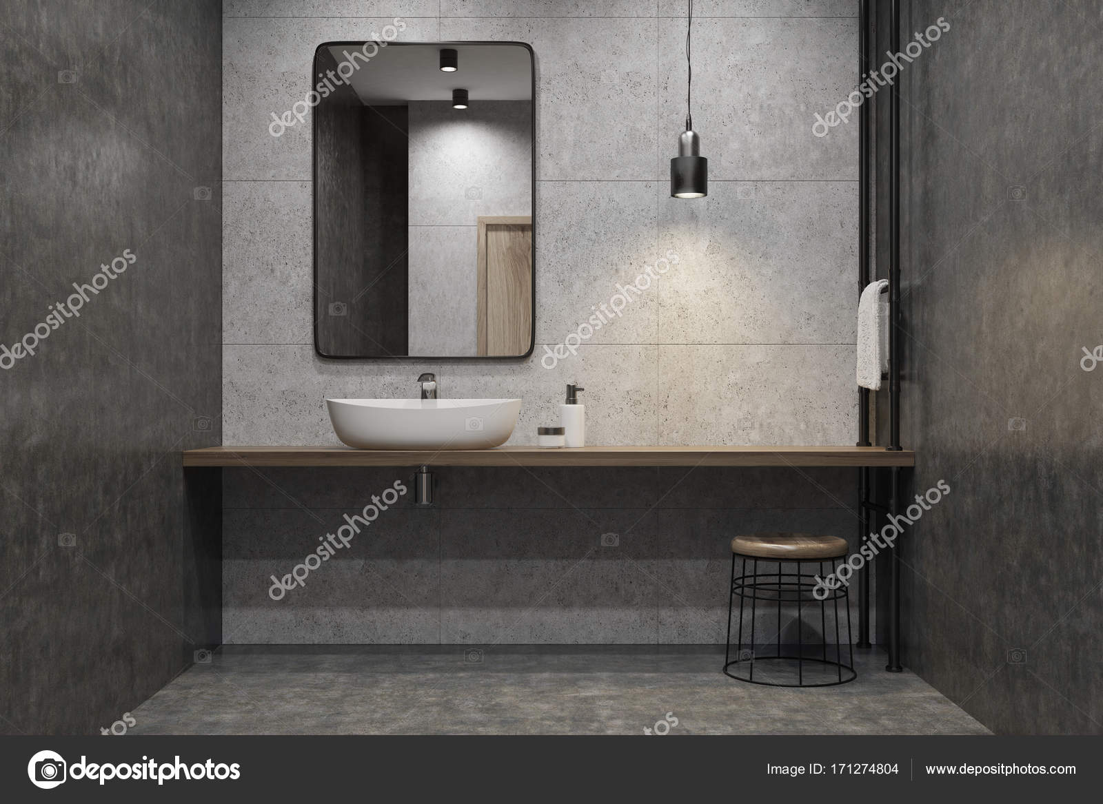 Wastafel Van Beton : Beton wc wastafel spiegel u2014 stockfoto © denisismagilov #171274804
