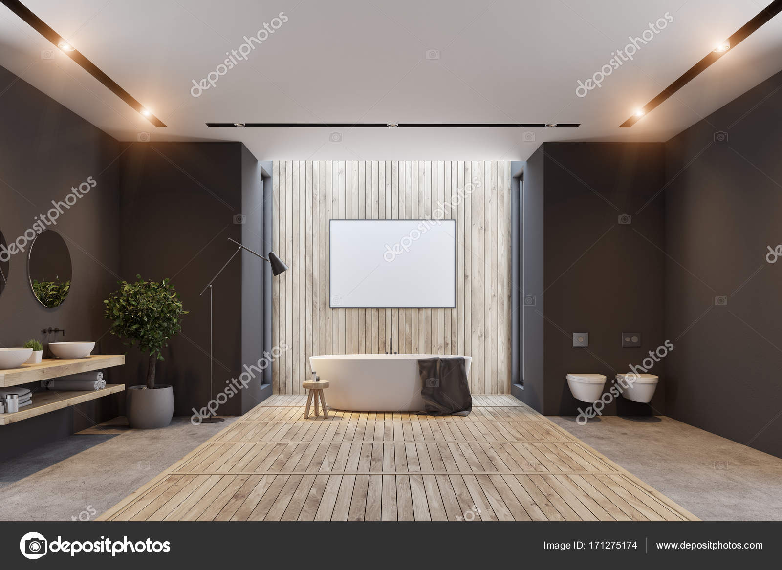Poster interni, bagni in legno e nero — Foto Stock ...