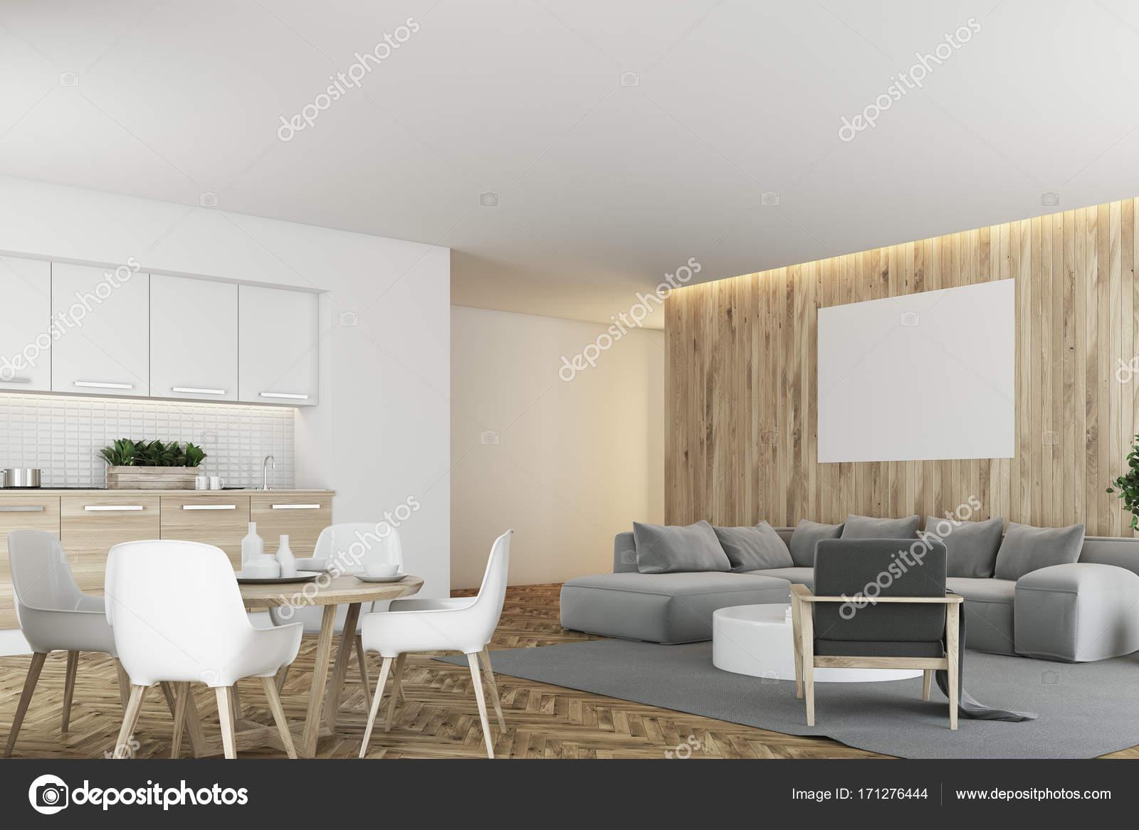 Angolo cucina e salotto bianco e legno — Foto Stock © denisismagilov ...