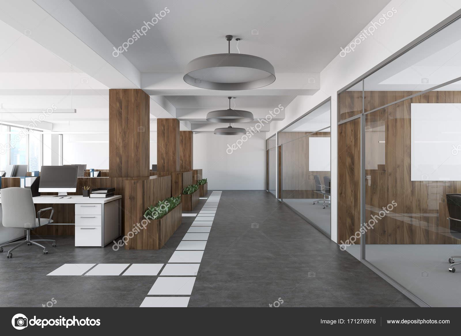 Ufficio Bianco E Legno : Ufficio open space in legno e bianco u foto stock denisismagilov
