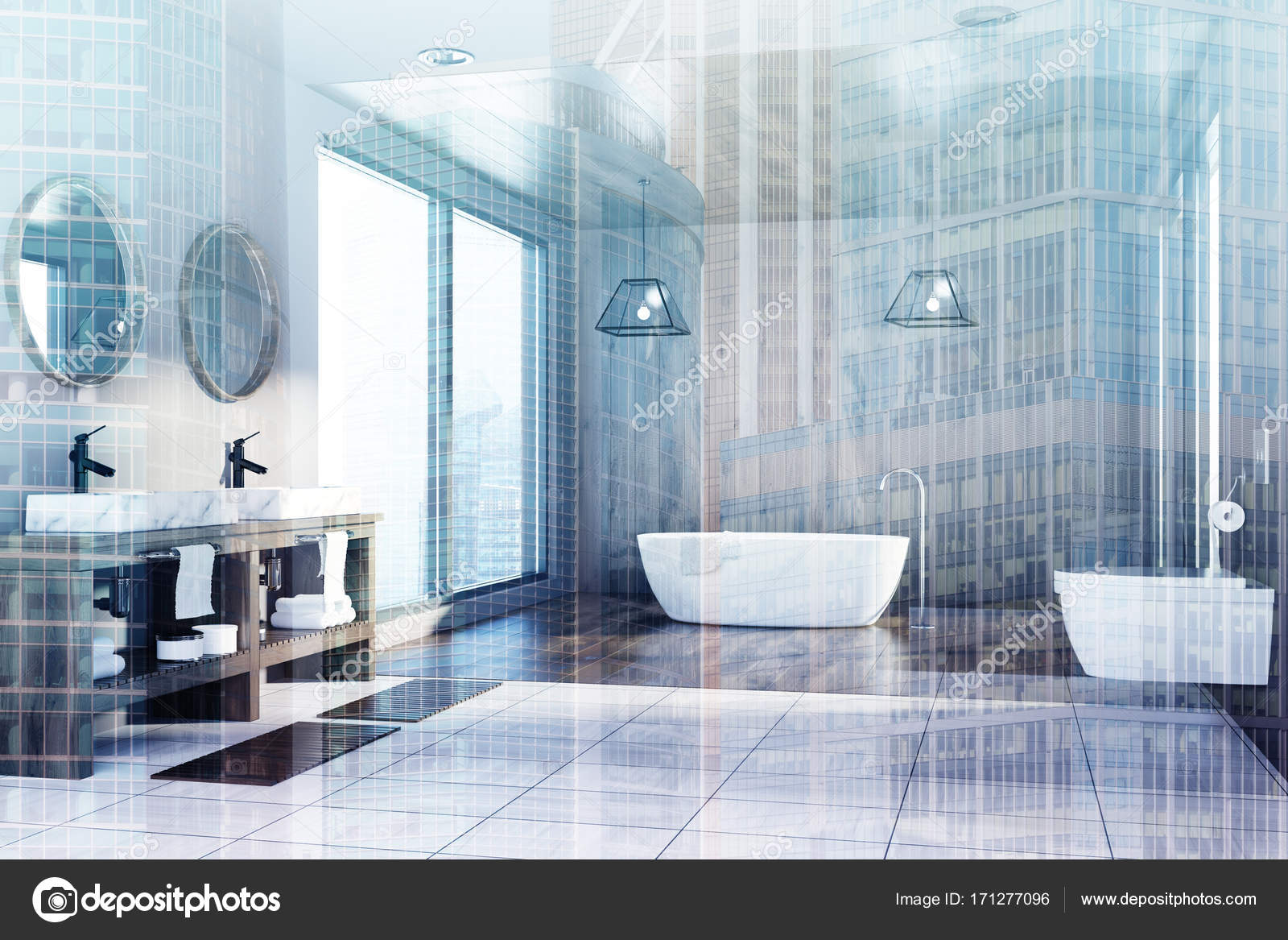 Wooden bathroom, tub, sink and toilet, side double — Stock Photo ...