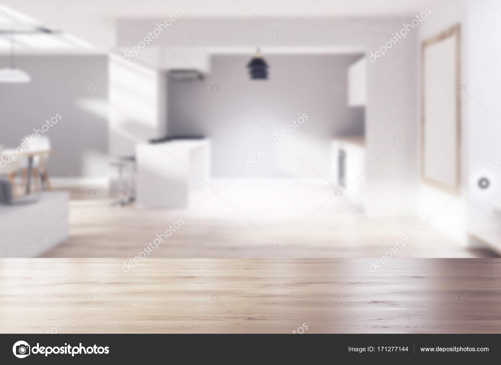 Gray cucina in legno sala da pranzo poster sfocato u foto stock