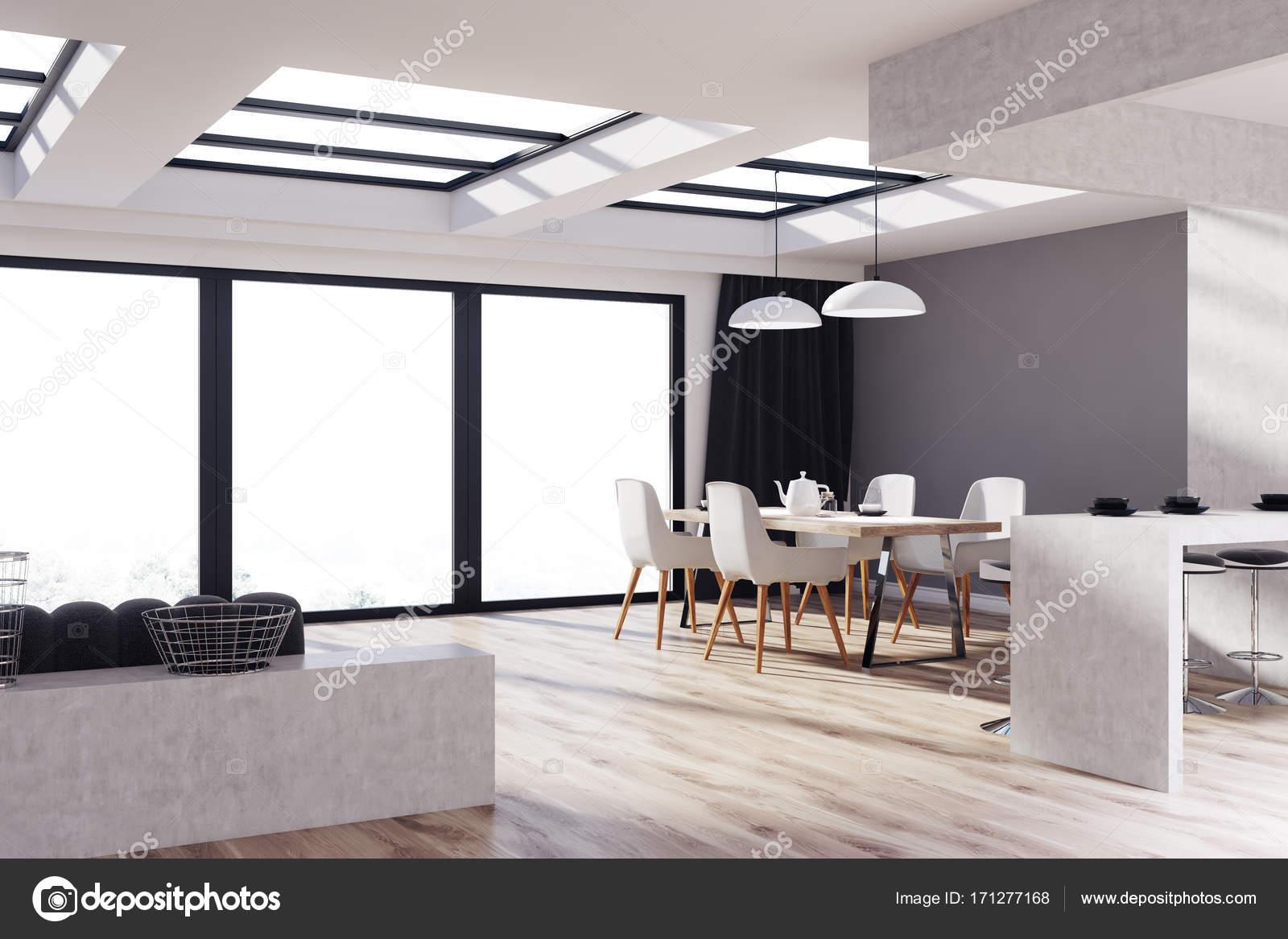 Gray, houten keuken, eetkamer, hoek — Stockfoto © denisismagilov ...