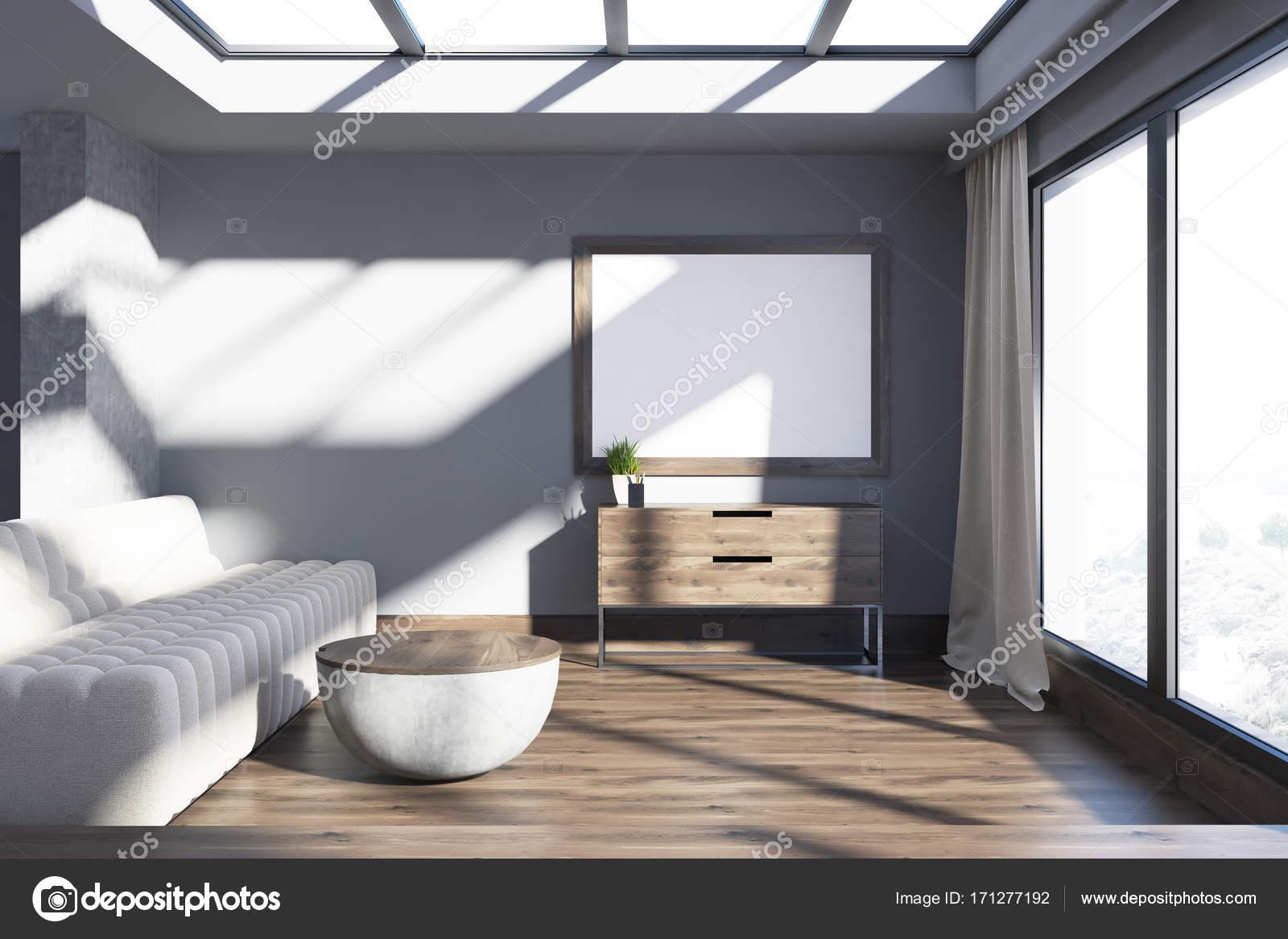 Minimalistische grau wohnzimmer sofa und poster u2014 stockfoto #171277192