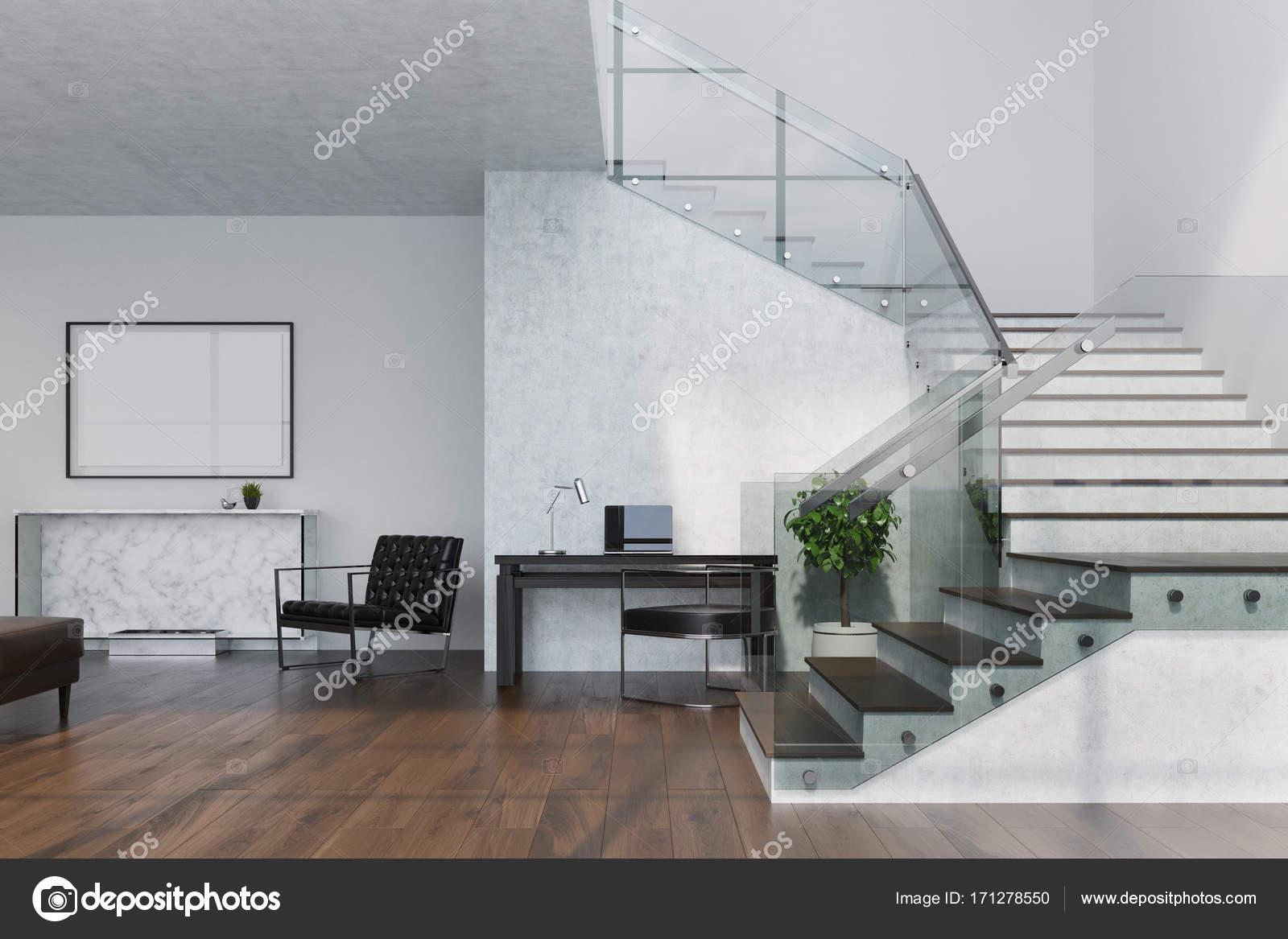 Marmeren woonkamer, open haard en poster — Stockfoto ...