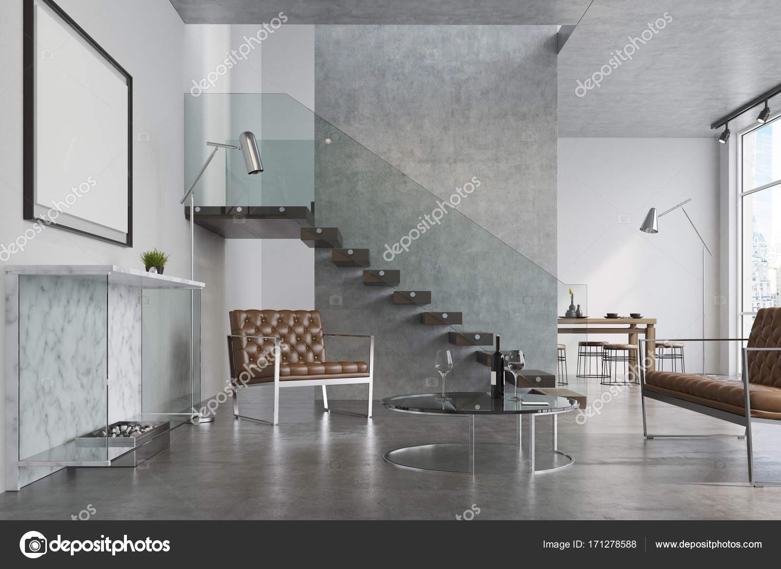 Moderne Wohnzimmer, Kamin und poster — Stockfoto © denisismagilov ...