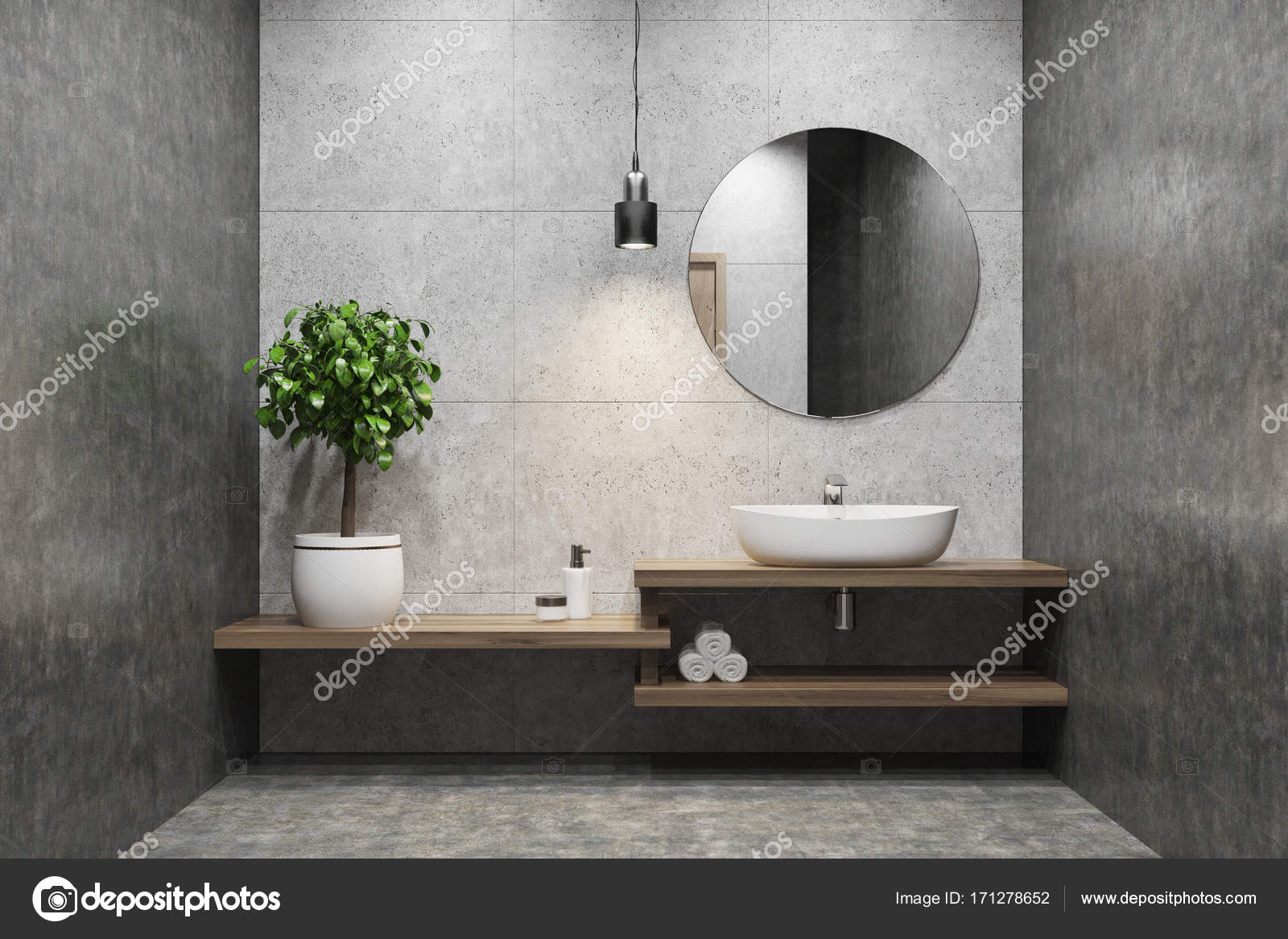 Betonnen wastafel badkamer ronde spiegel u stockfoto