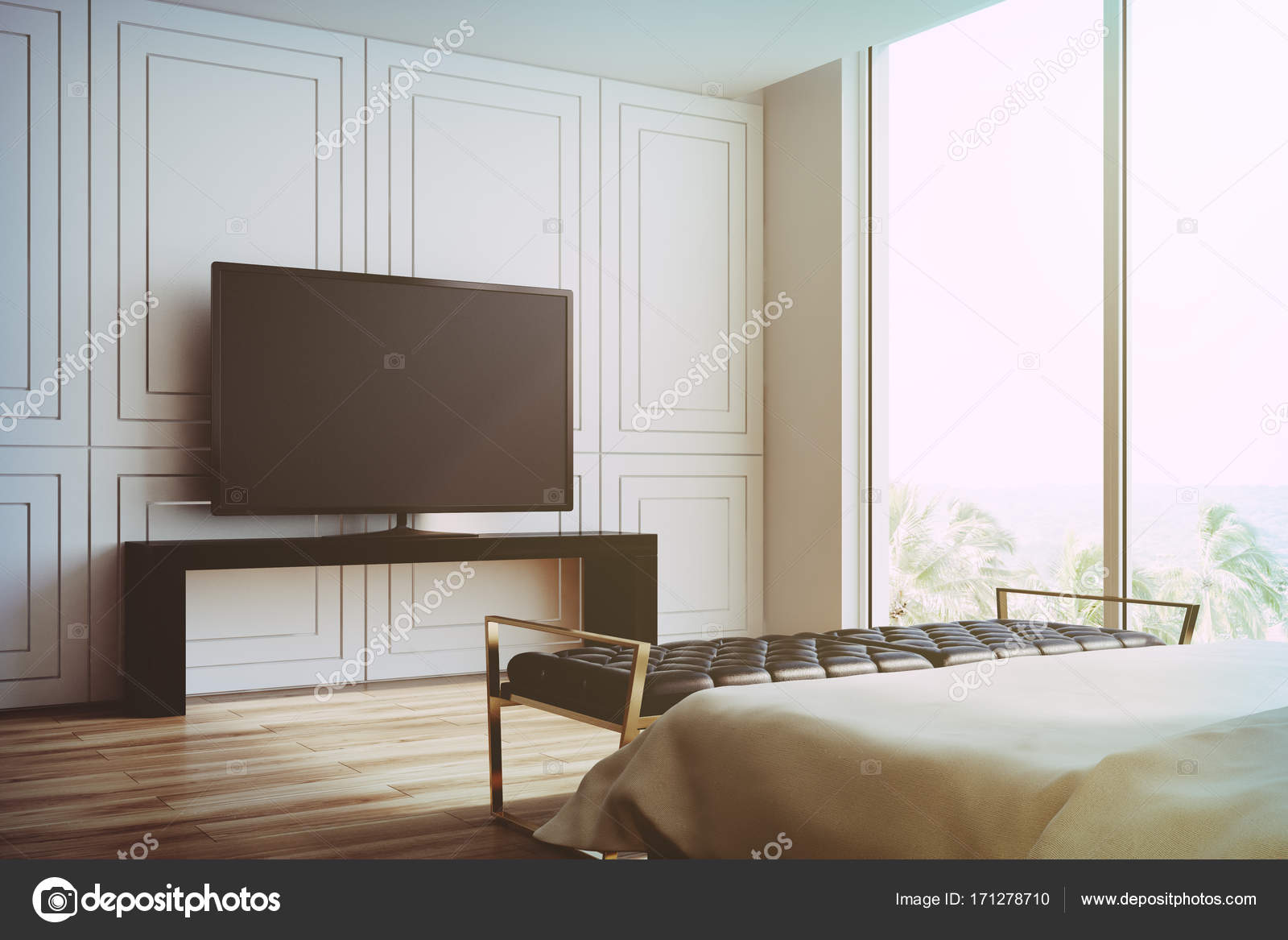 White living room, TV set side view toned — Stock Photo ...