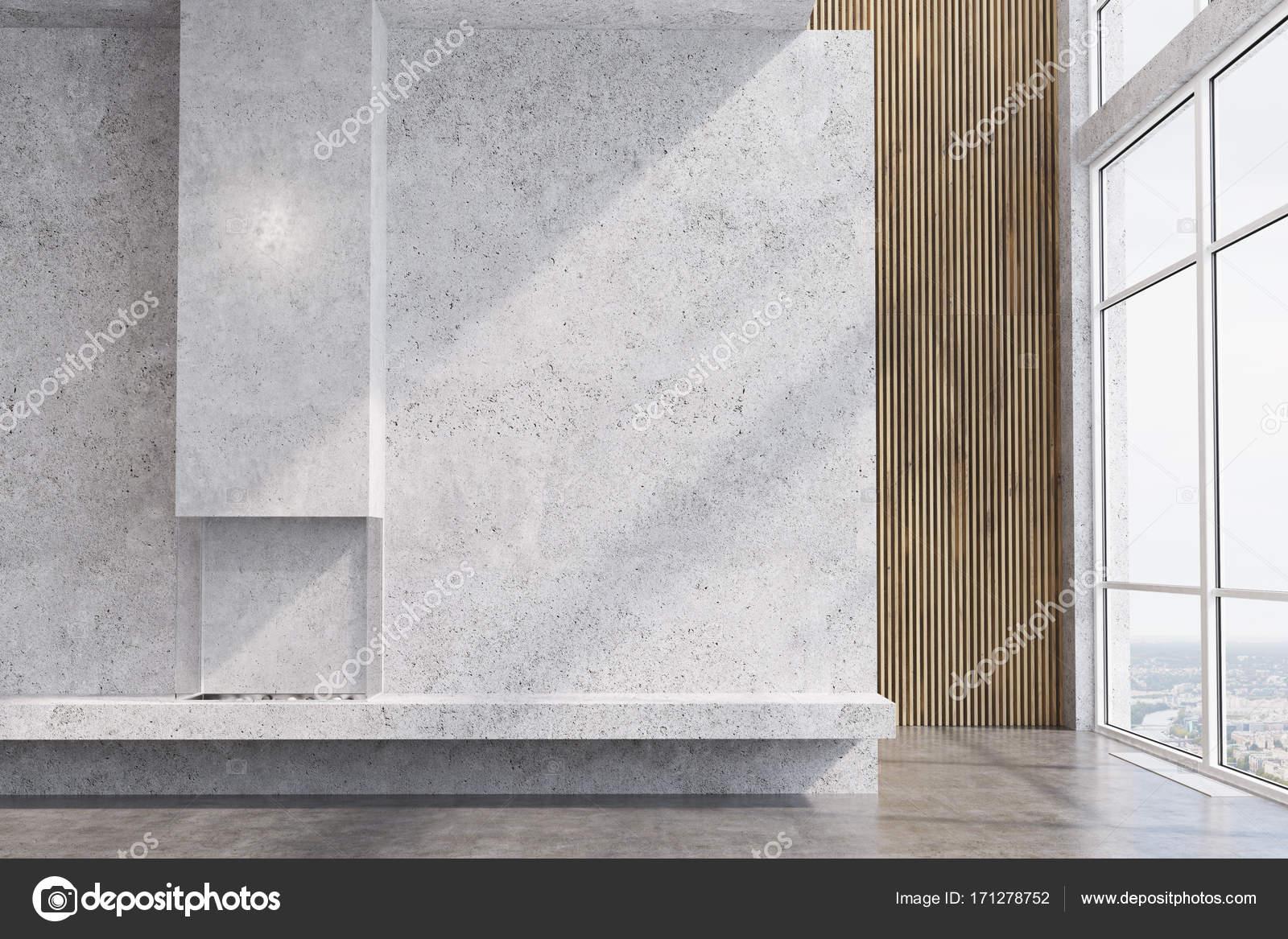 Beton Und Holz Wohnzimmer Kamin Stockfoto C Denisismagilov 171278752