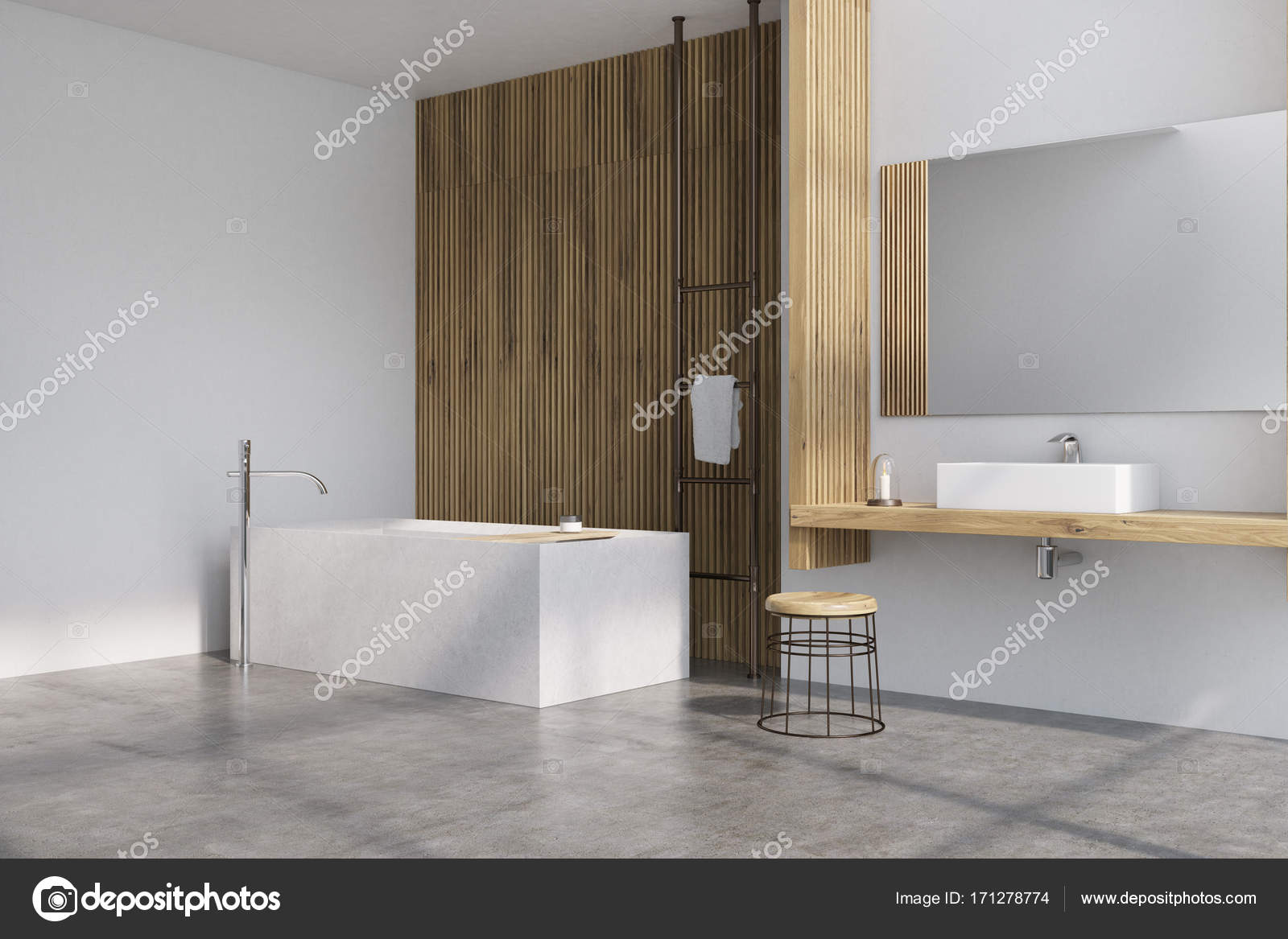 Grau und Holz Bad, Wanne-Seite — Stockfoto © denisismagilov ...