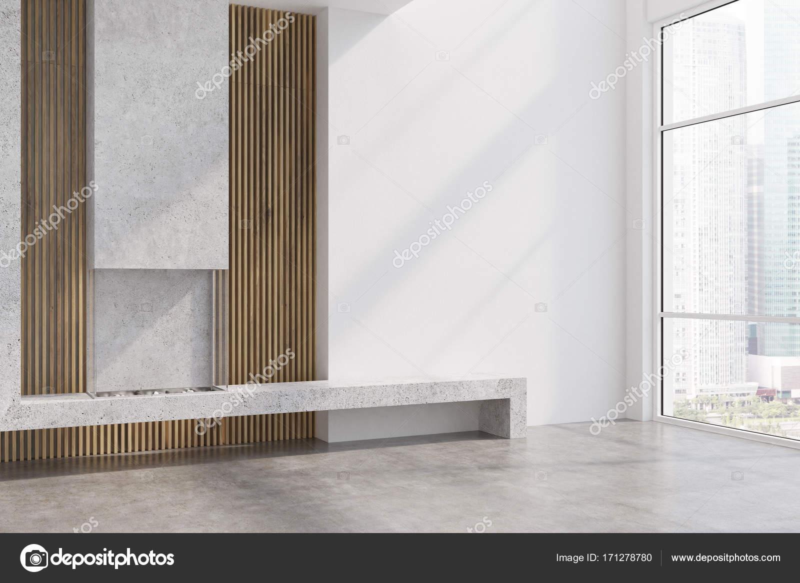 Beton Und Holz Wohnzimmer Kamin Seite Stockfoto C Denisismagilov