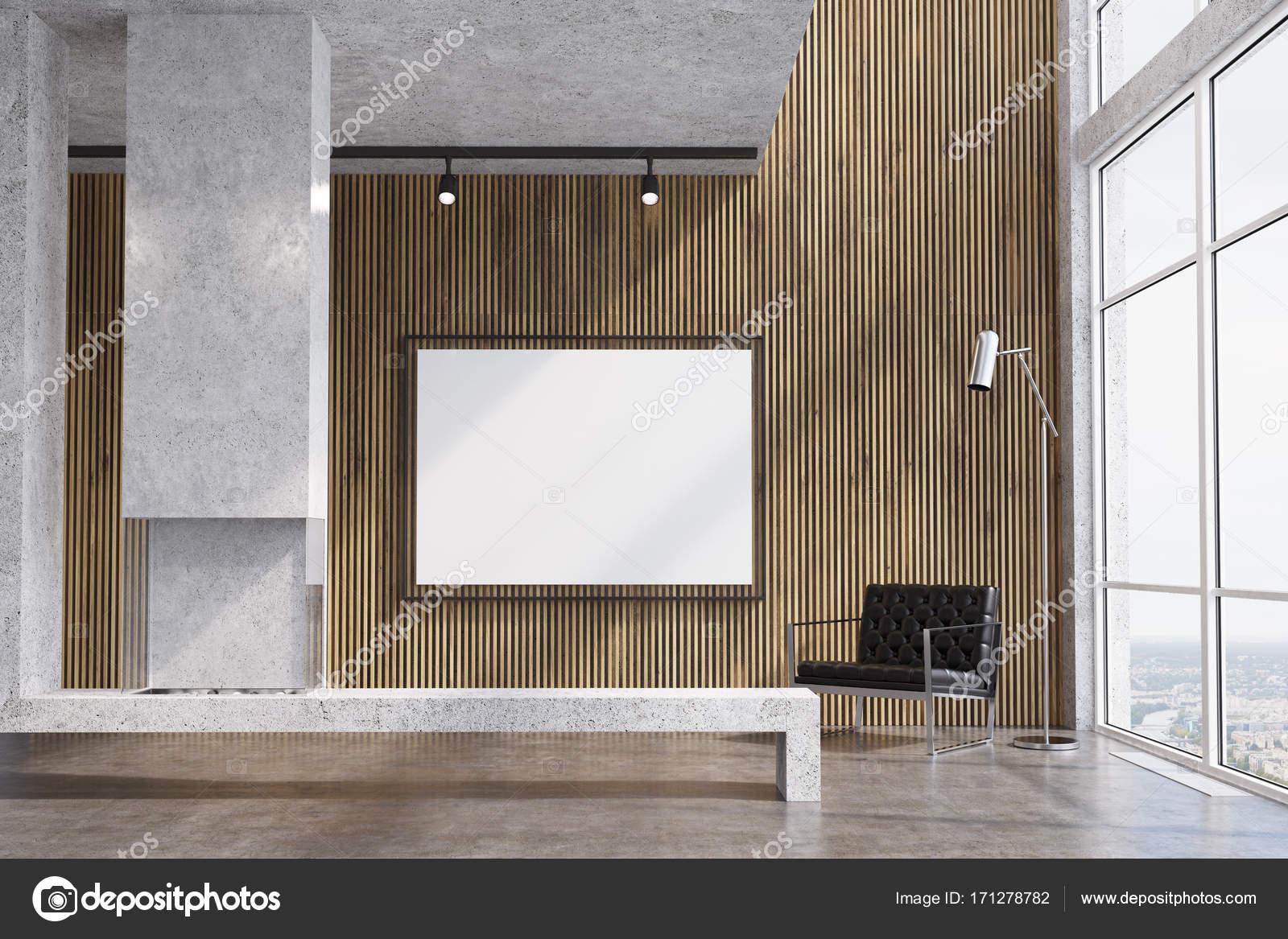Soggiorno in legno televisore camino u foto stock