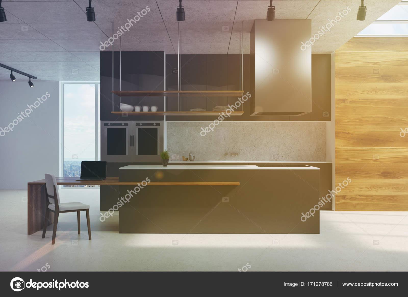 Schwarz und aus Holz Küchentheke getönt — Stockfoto © denisismagilov ...