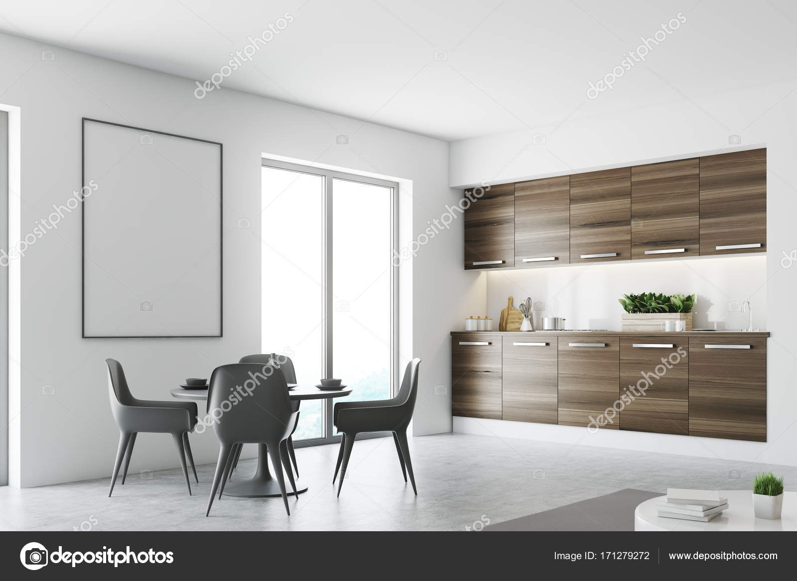 White and wooden living room and kitchen poster — Stock Photo ...