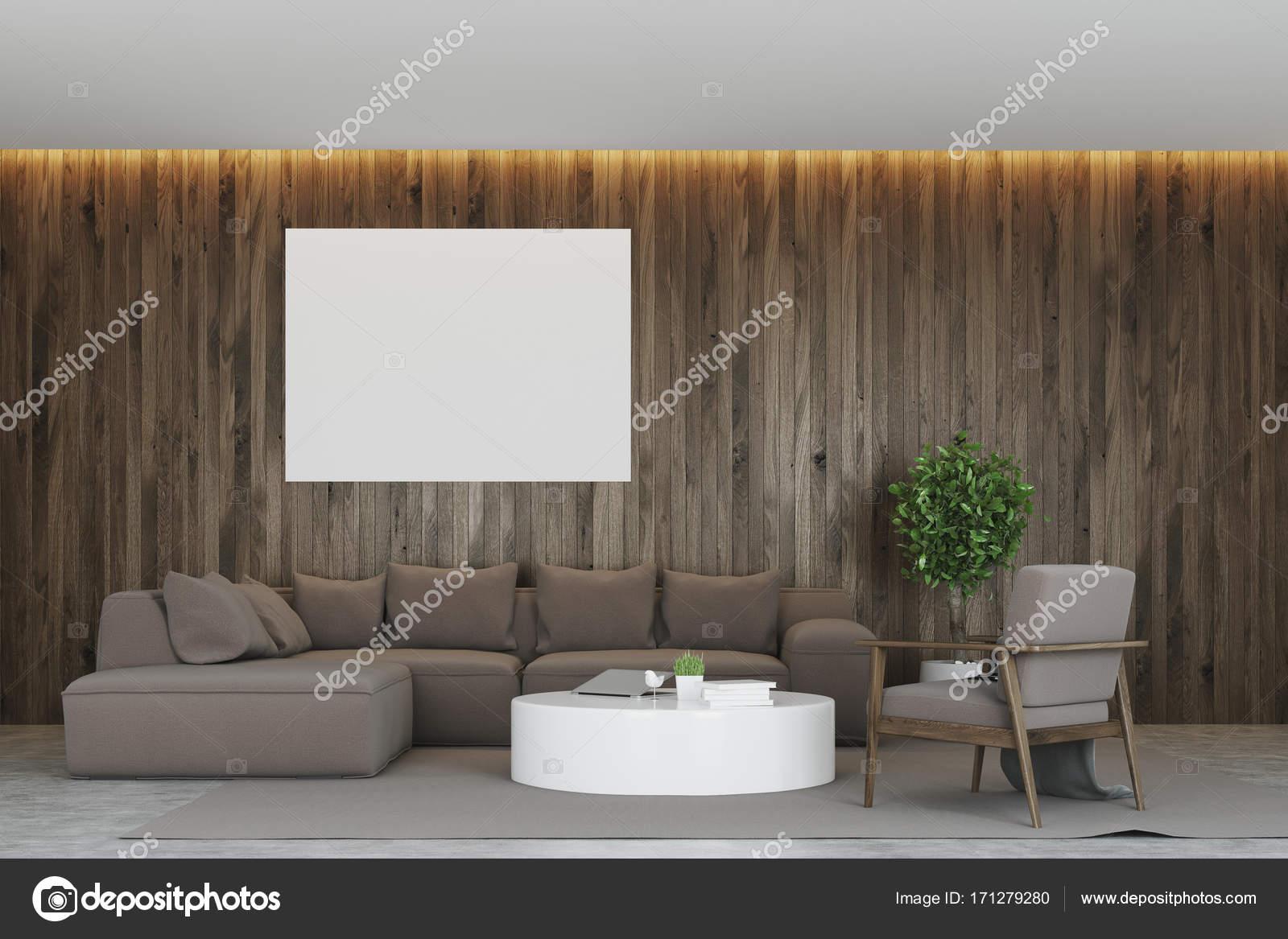 Dunkles Holz Wohnzimmer Interieur Mit Einem Grauen Sofa, Ein Runder  Couchtisch Und Horizontale Poster An Der Wand. 3D Rendering Mock Up U2014 Foto  Von ...