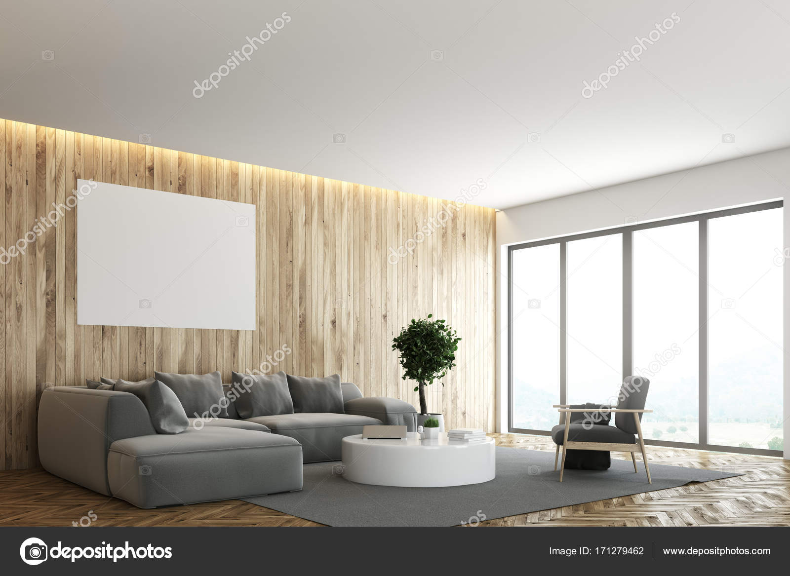 Woonkamer Grijze Bank : Kleurrijke hoofdkussens op moderne grijze bank in woonkamer stock