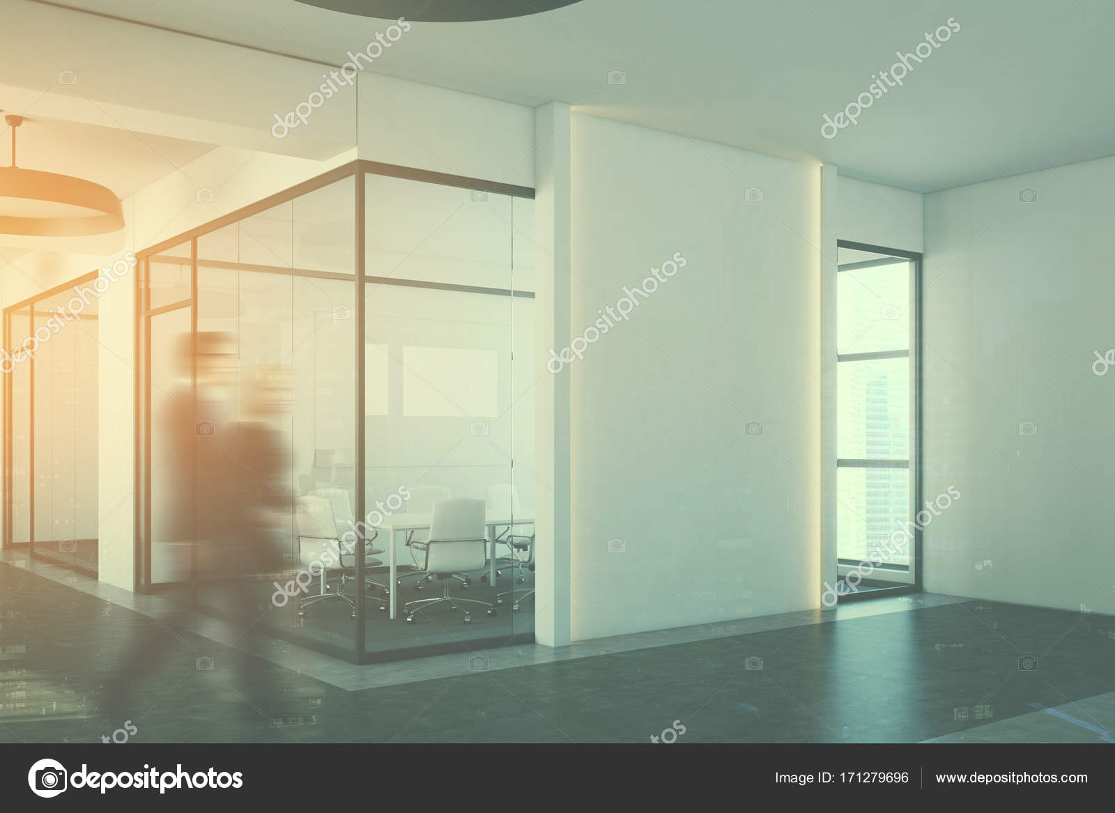 office meeting room. Business People In A White Conference Room Interior Corner With Concrete Floor, Glass Walls, Long Table Chairs And Blank Wall Fragment. Office Meeting