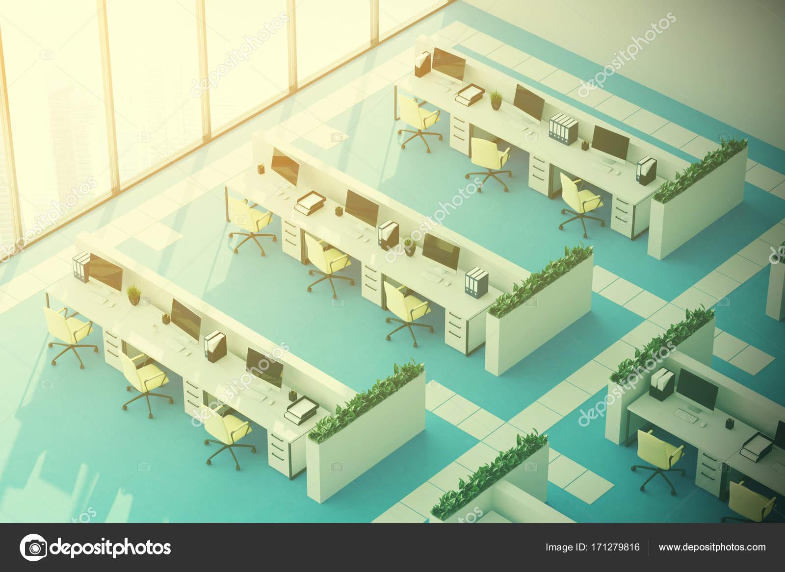 Blauwe vloer kantoor bovenaanzicht toned u stockfoto