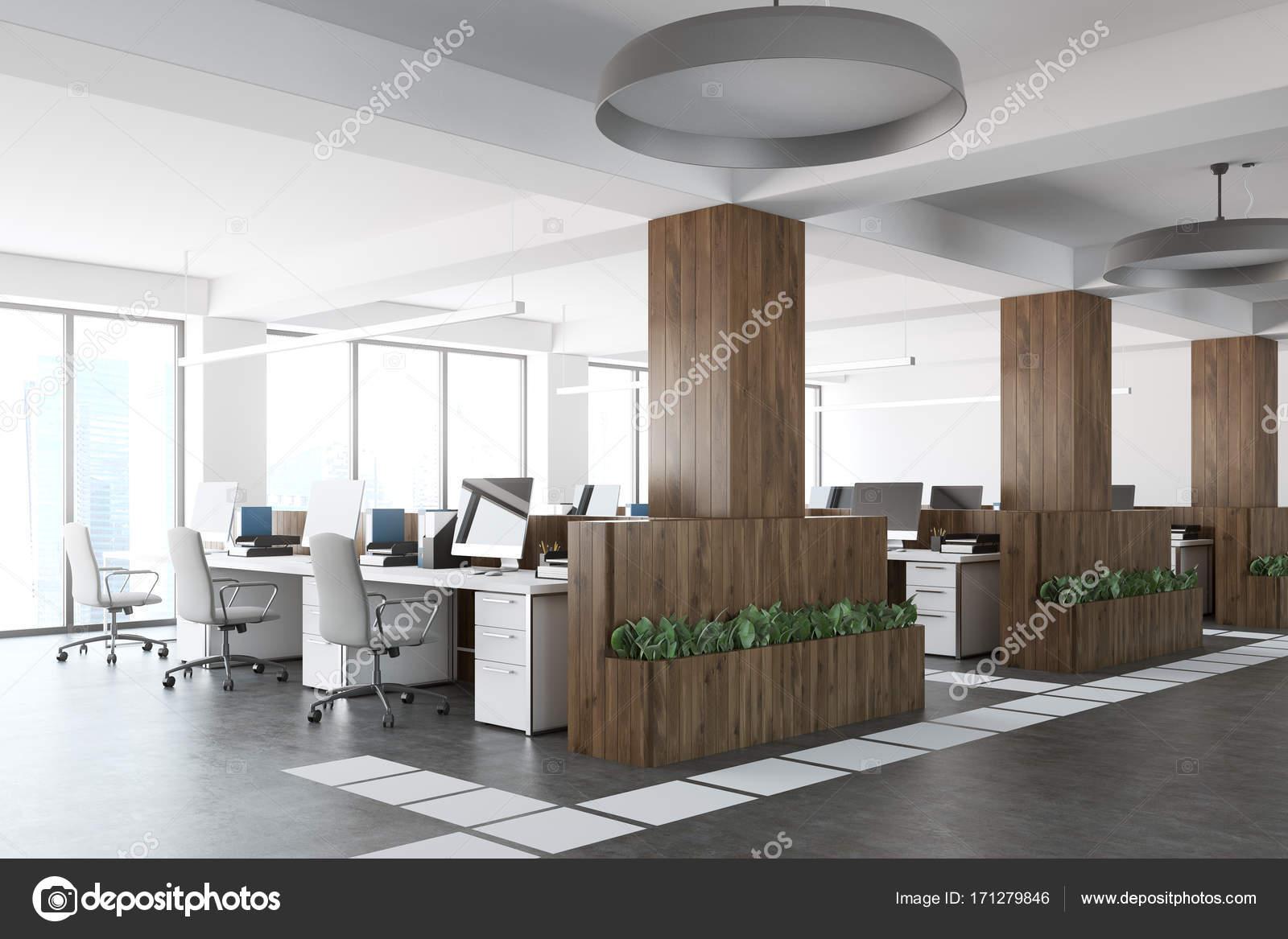 Ufficio Bianco E Legno : Angolo ufficio open space in legno e bianco u foto stock
