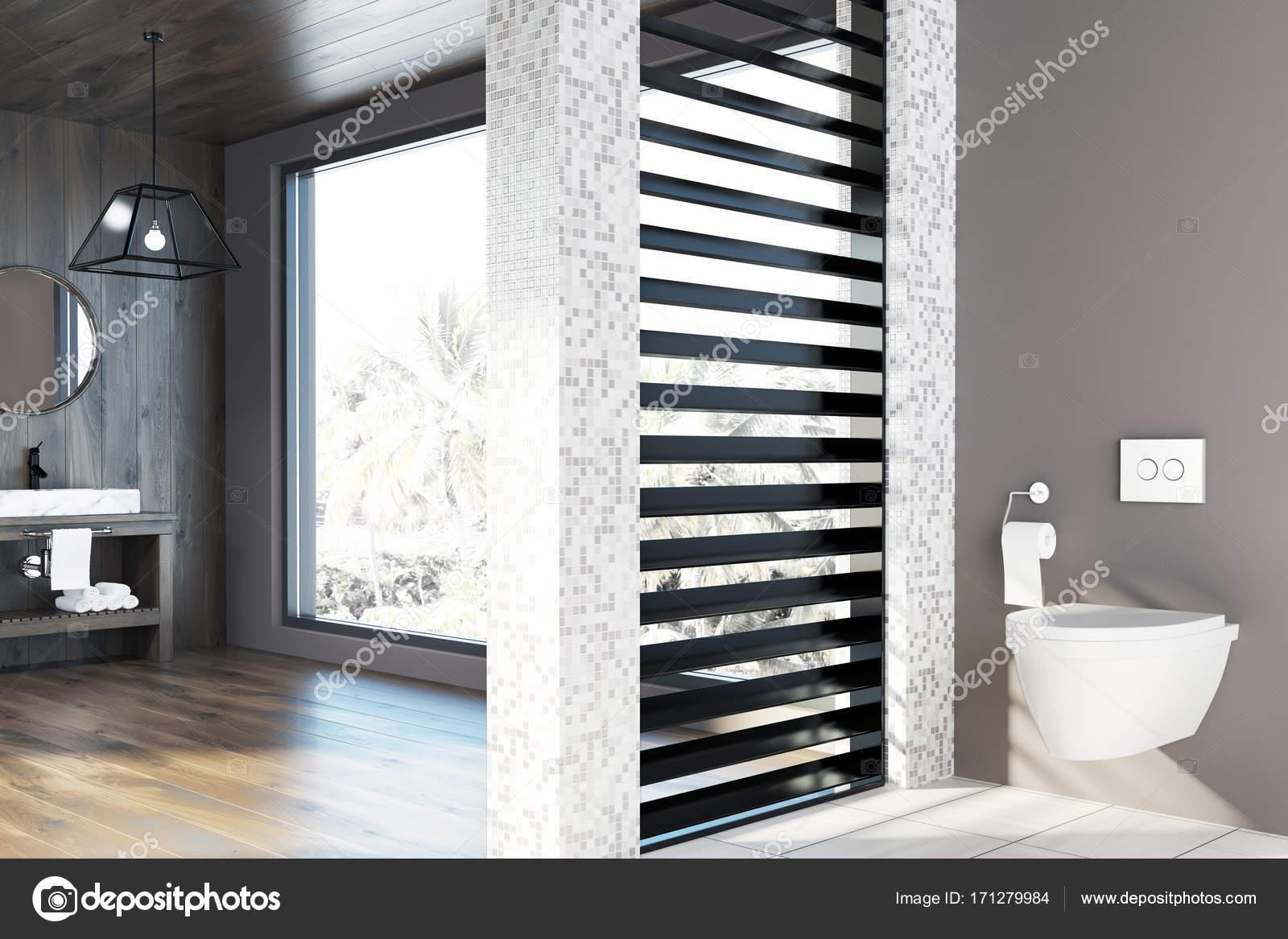 Witte tegels en houten wc wastafel toilet u2014 stockfoto