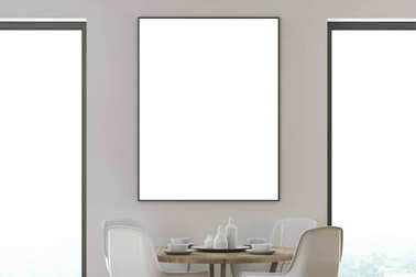White dining room, white chairs, poster