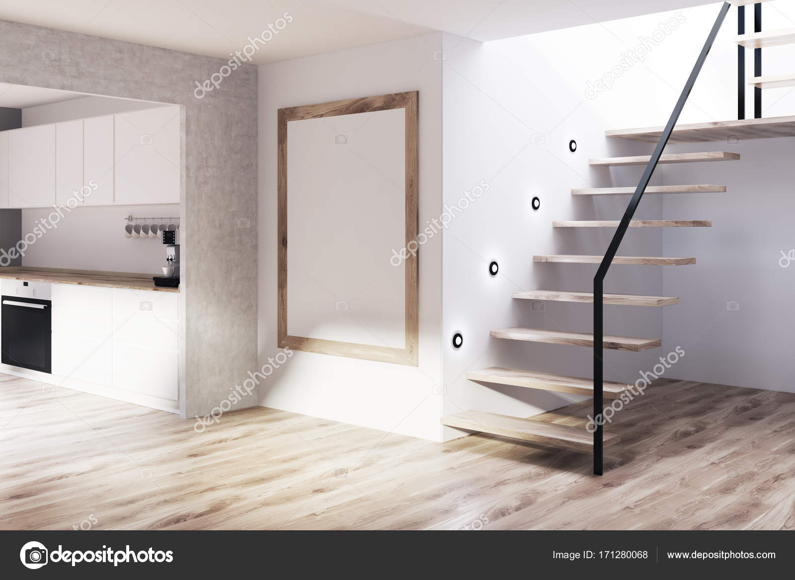 Gray Kuche Aus Holz Treppen Plakat Ecke Stockfoto