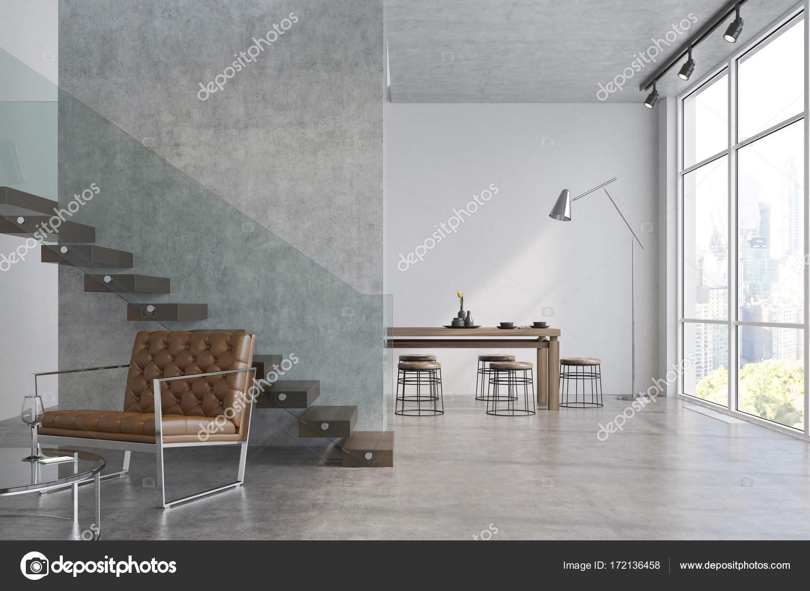 Moderne Wohnzimmer, Sessel und ein Tisch — Stockfoto ...