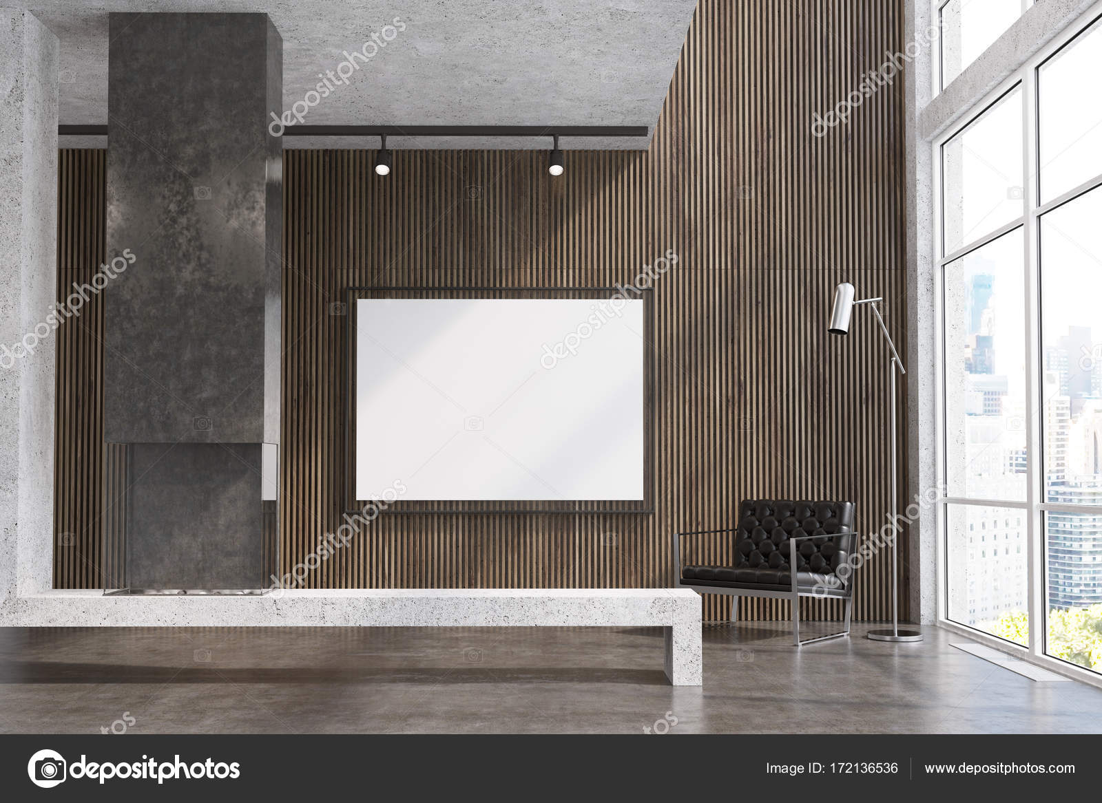 Wooden living room TV set gray fireplace Stock Photo
