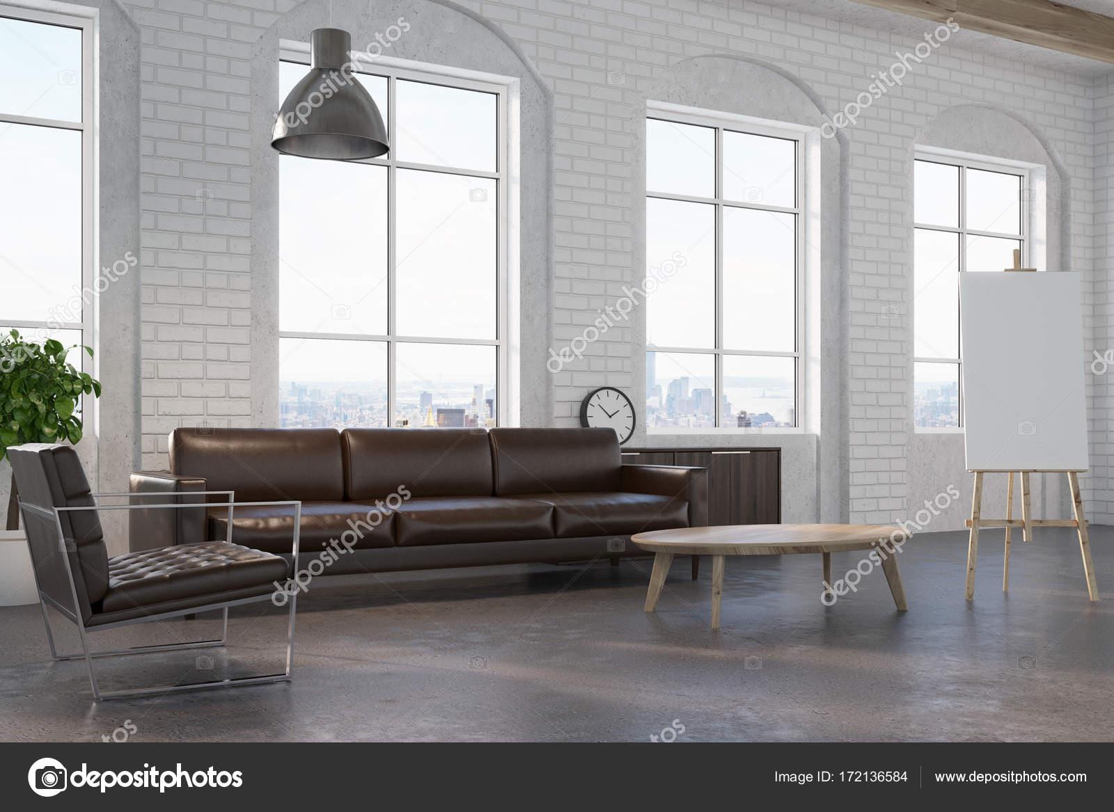 White brick living room, brown sofa side — Stock Photo ...
