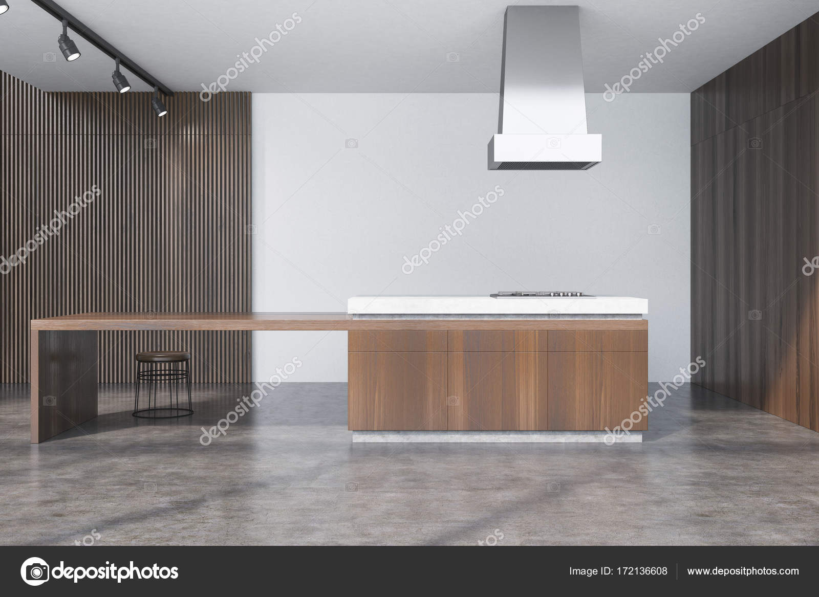 Concrete And Wooden Dining Room Bar Stock Photo