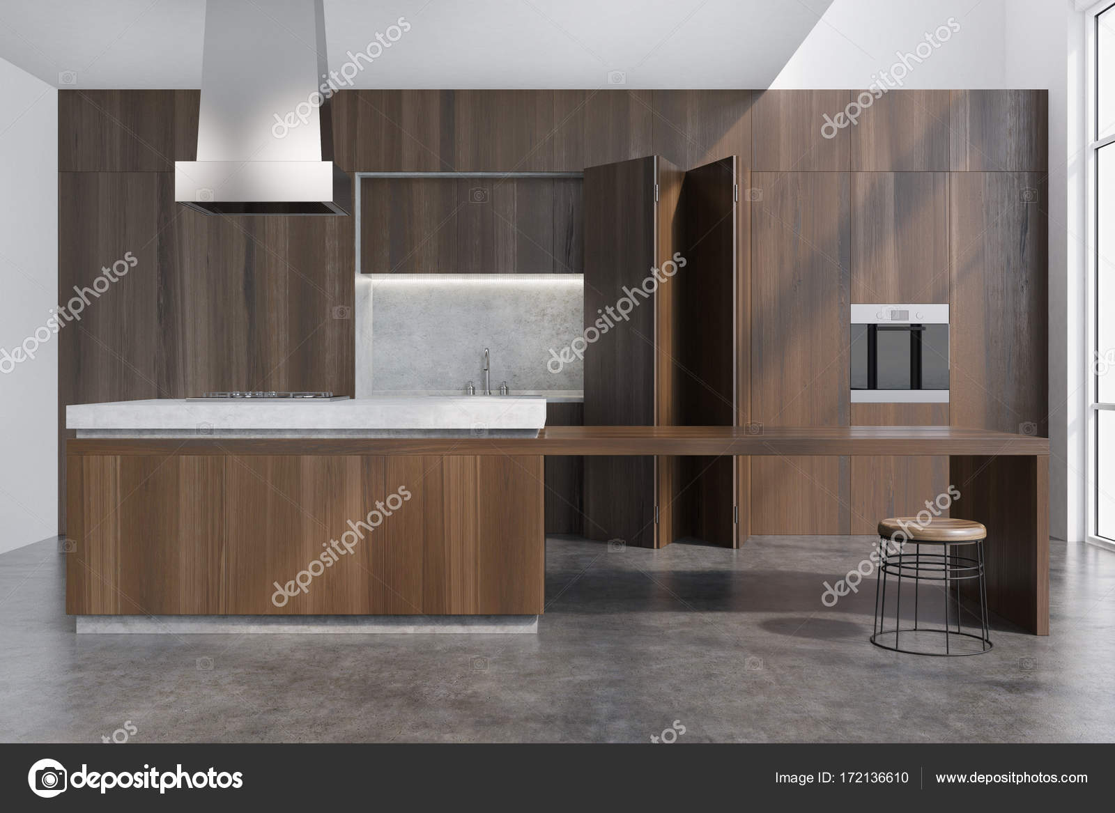 Dark Wooden Dining Room With A Bar Stock Photo