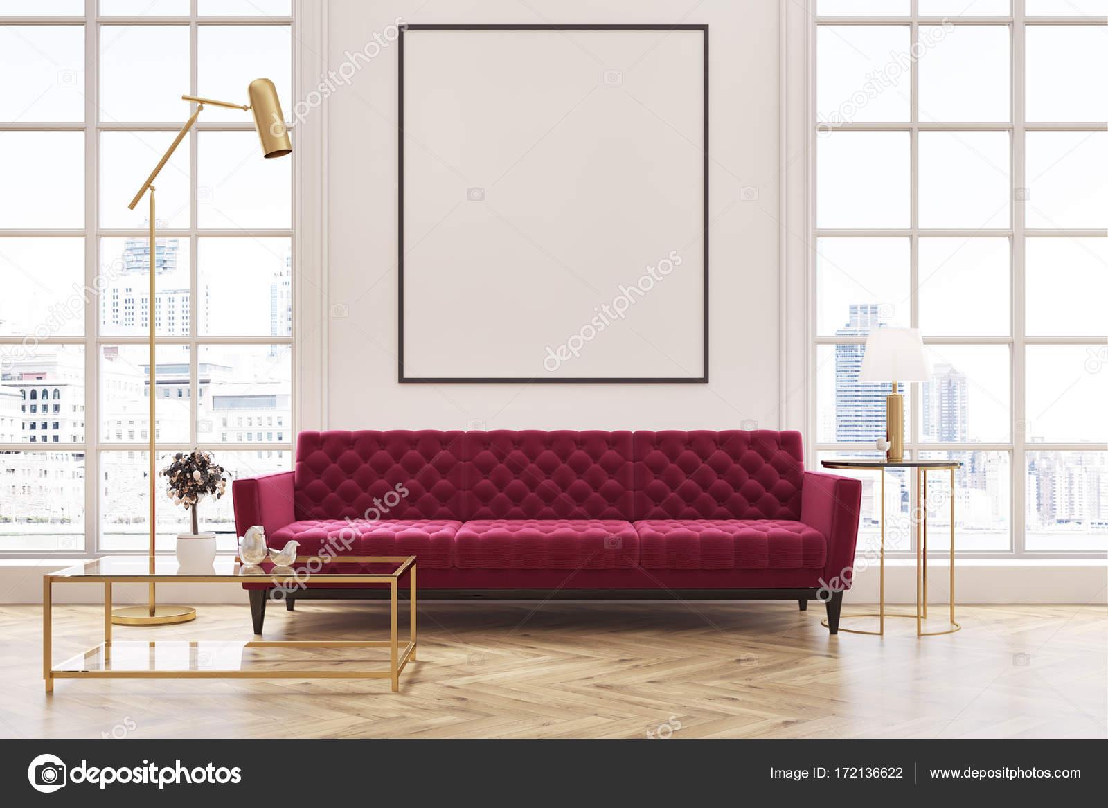 Weisse Wohnzimmer Rotes Sofa Plakat Stockfoto C Denisismagilov