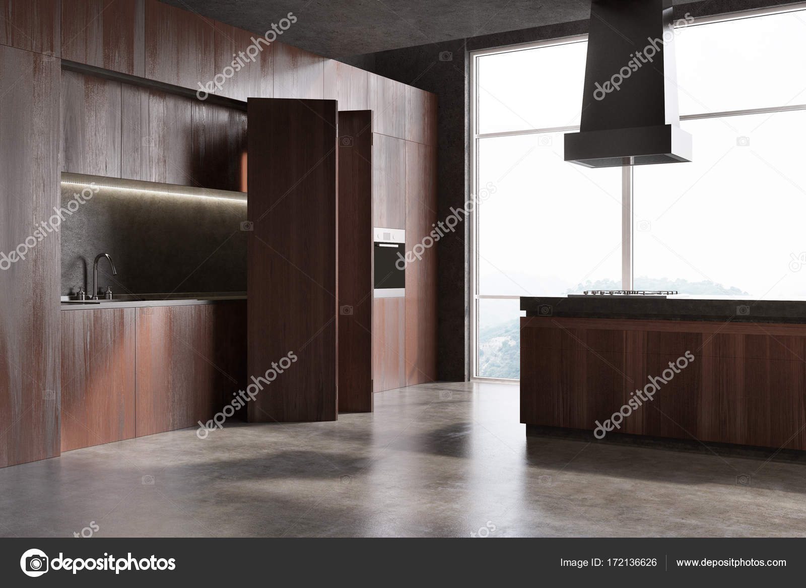 Angle Intérieur De Cuisine Moderne Se Bouchent Avec Un Plancher De Béton Et  Des Armoires En Bois Rouges Avec Un évier Et Un Four Intégré.