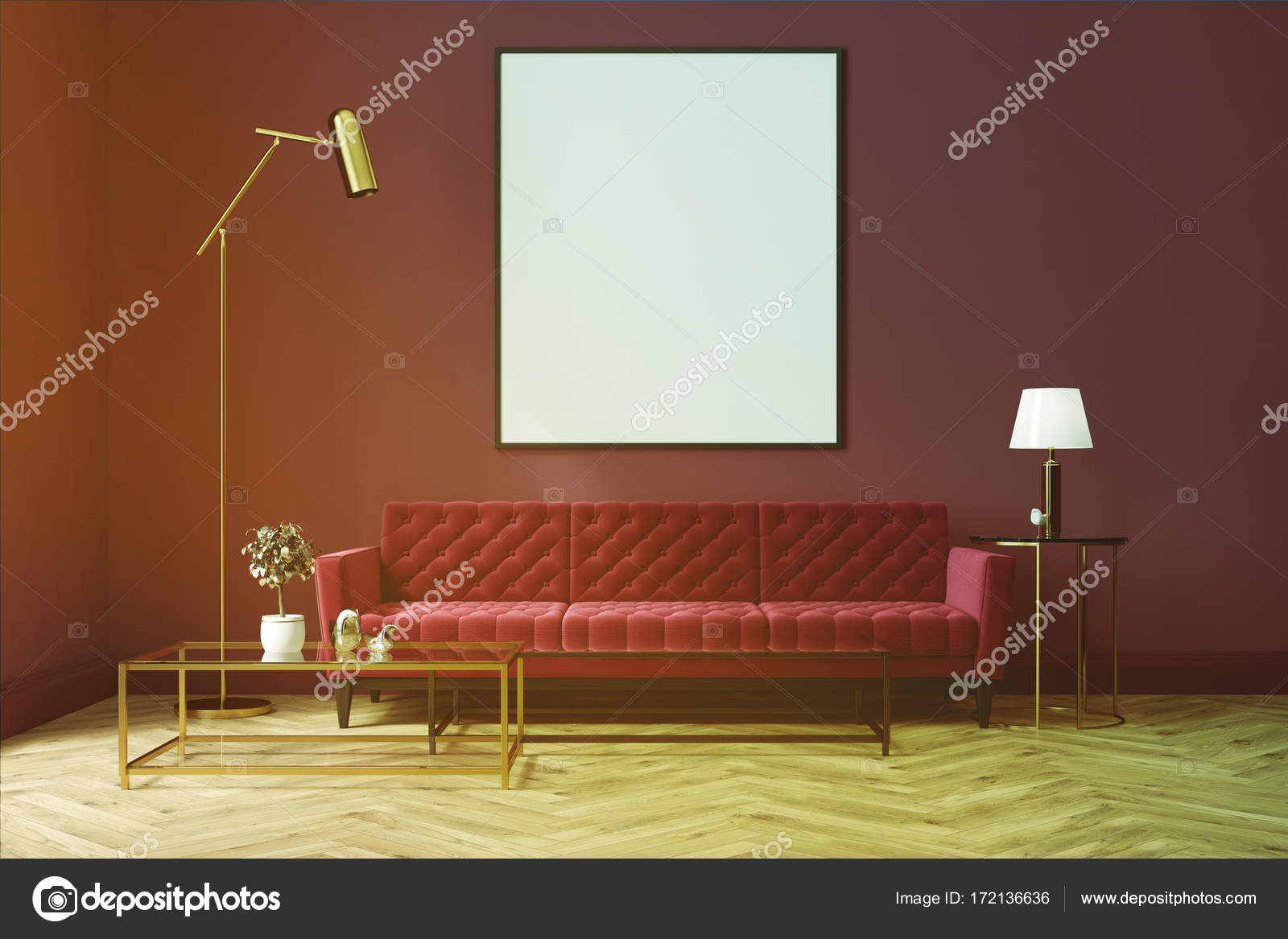Sofá de salón púrpura, rojo, cartel tonificada — Foto de stock ...